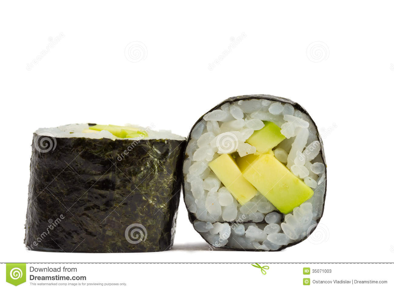 Sushi Roll In Nori With Avocado Isolated On White Background Stock ...
