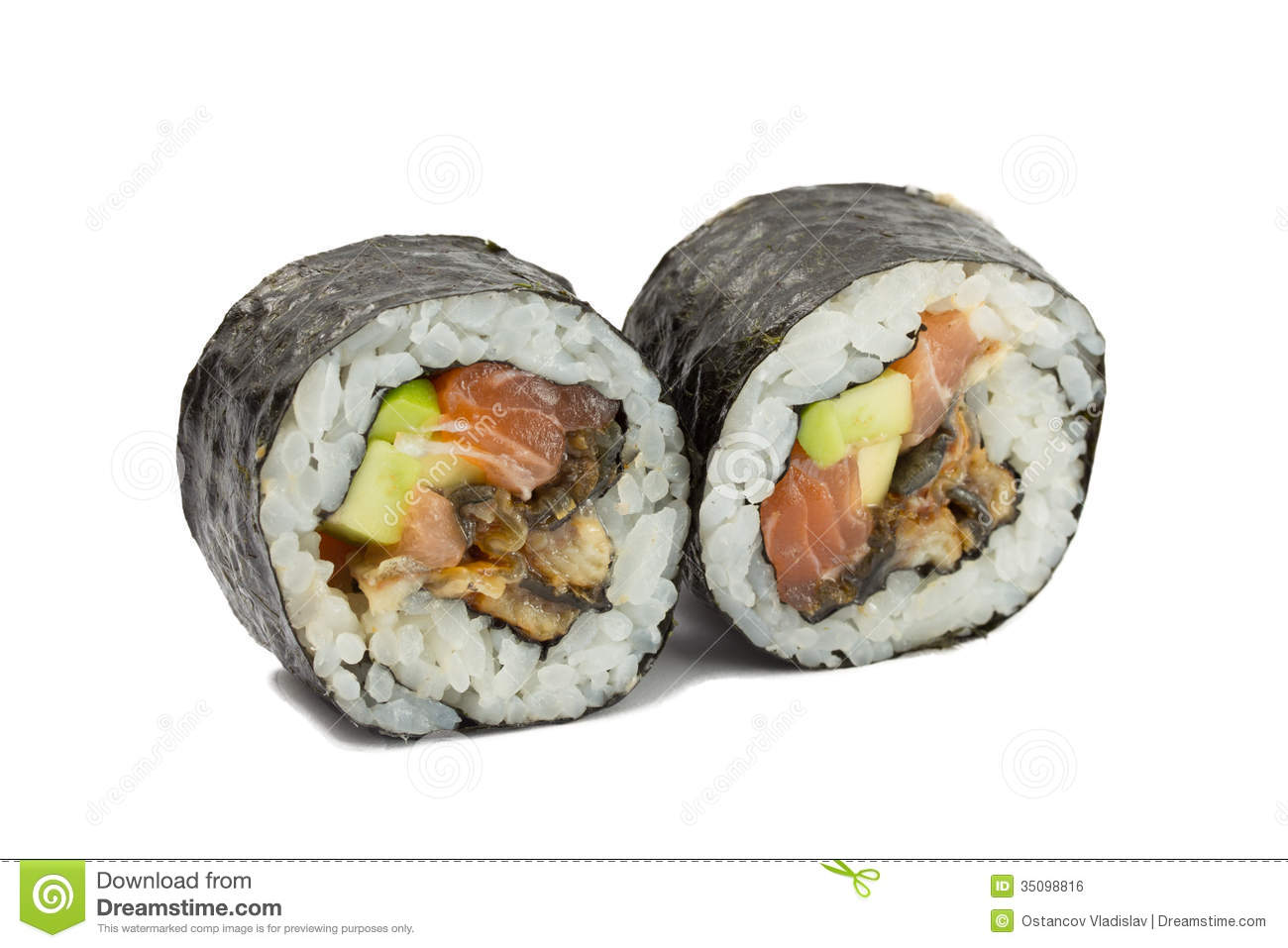 Sushi Roll In Nori Isolated On White Background Royalty Free Stock ...