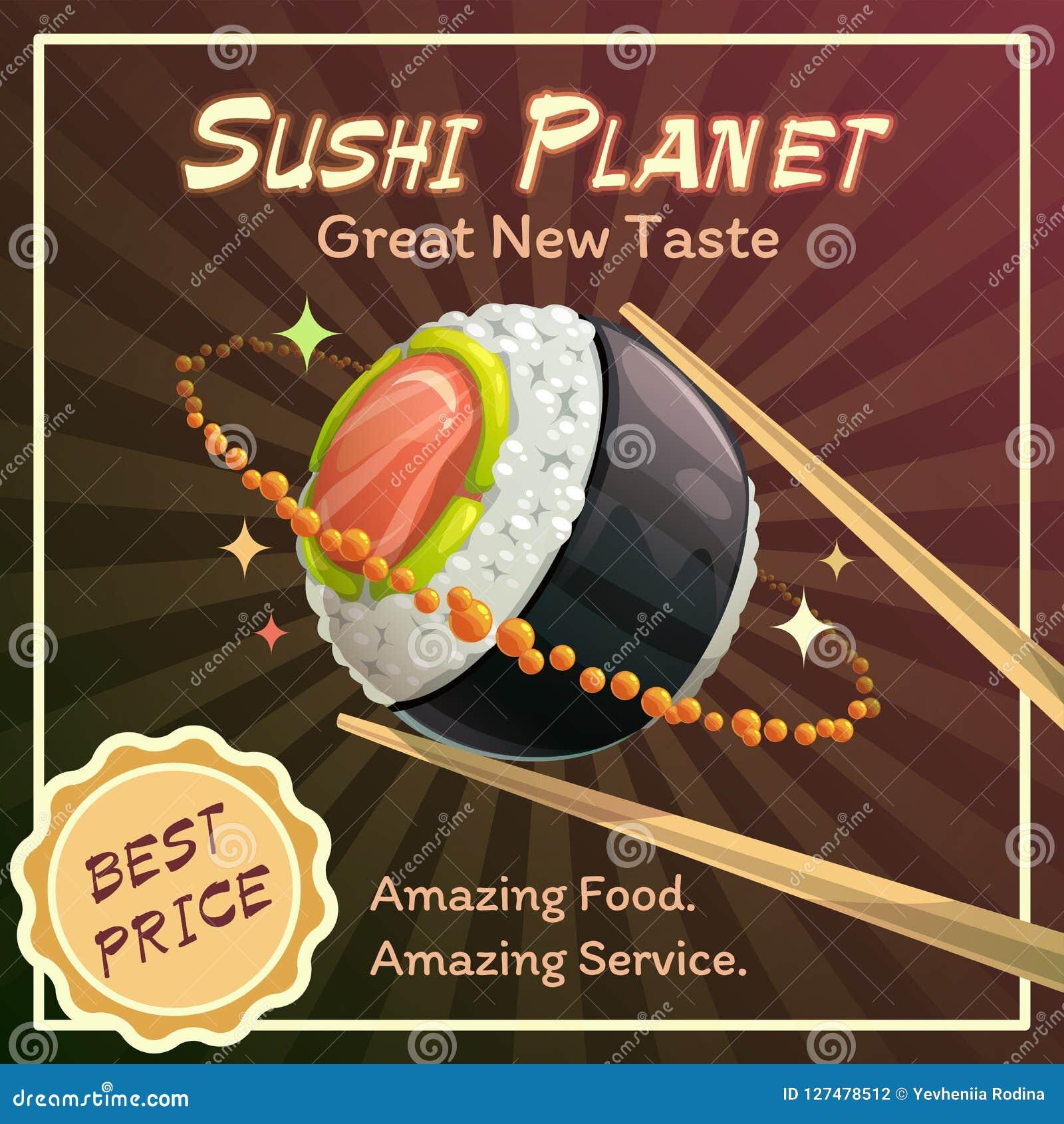 Sushi roll planet poster design. Japan food restaurant promotion concept.
