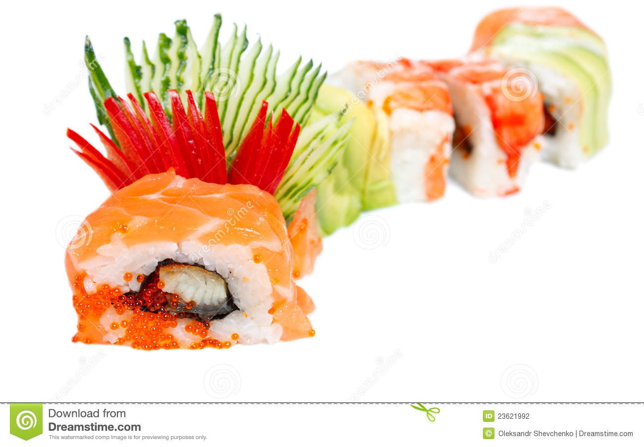 Sushi Roll With Salmon, Eel And Tiger Shrimp Stock Photography - Image ...