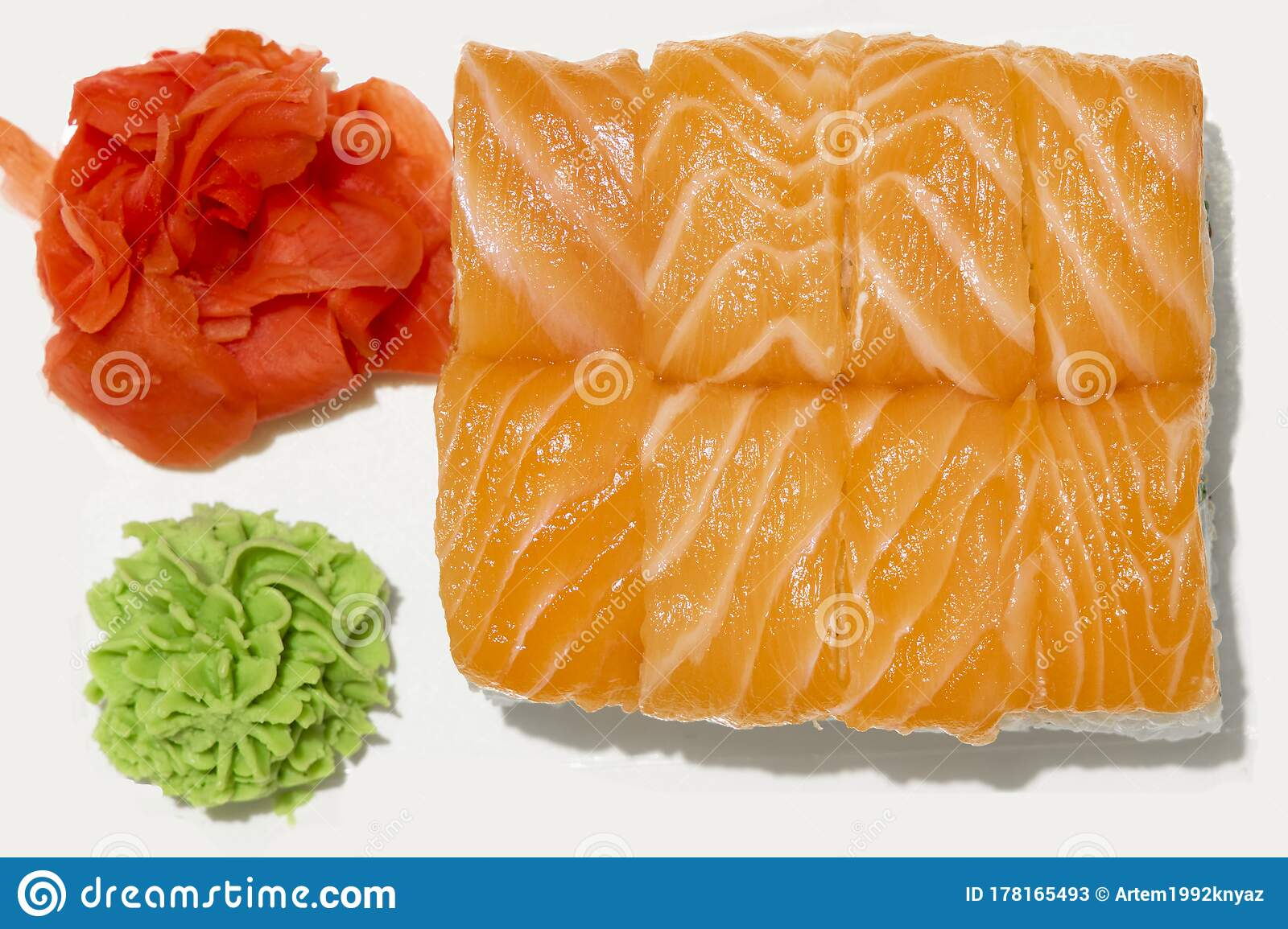 Sushi Roll Salmon Raw Fish Food Photography White Isolation Studio Background Ginger And Wasabi Cafe Or Restaurant Menu Asian Stock Image Image Of Ginger Natural 178165493