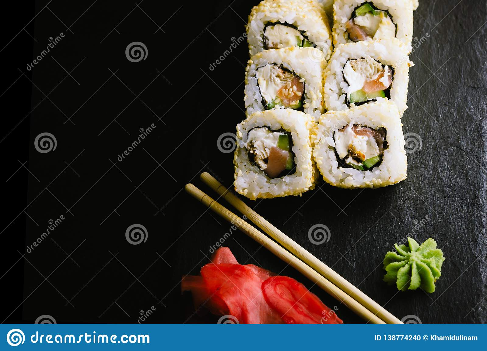 Sushi Rolls On Black Plate Stock Photo Image Of Snack