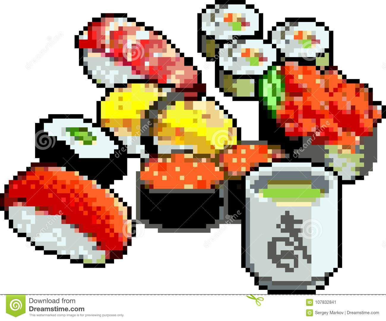 Set Of Sushi And Rolls Icons In Pixel Style Stock Vector