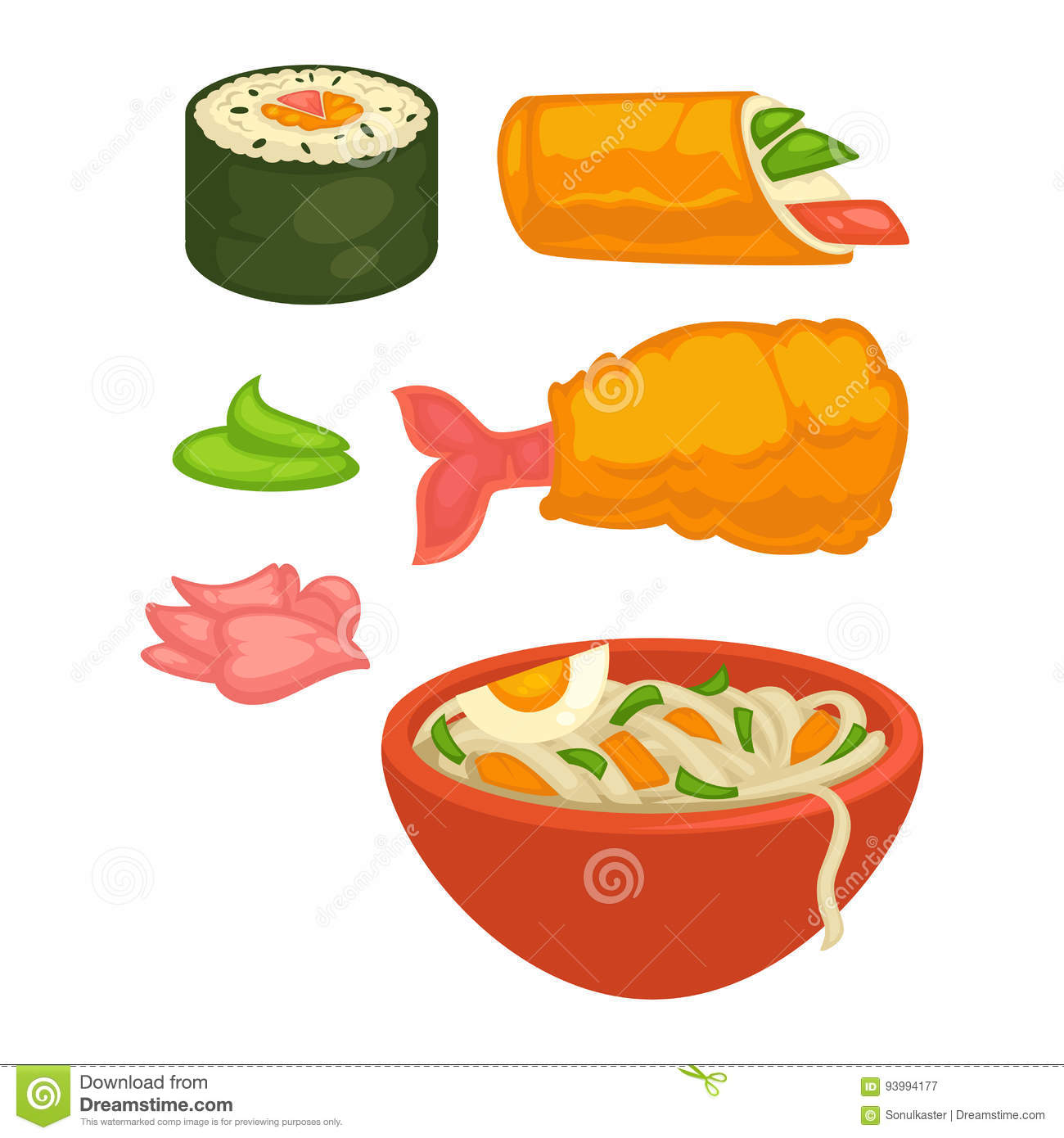 Sushi rolls and Japanese cuisine food snacks vector flat icons