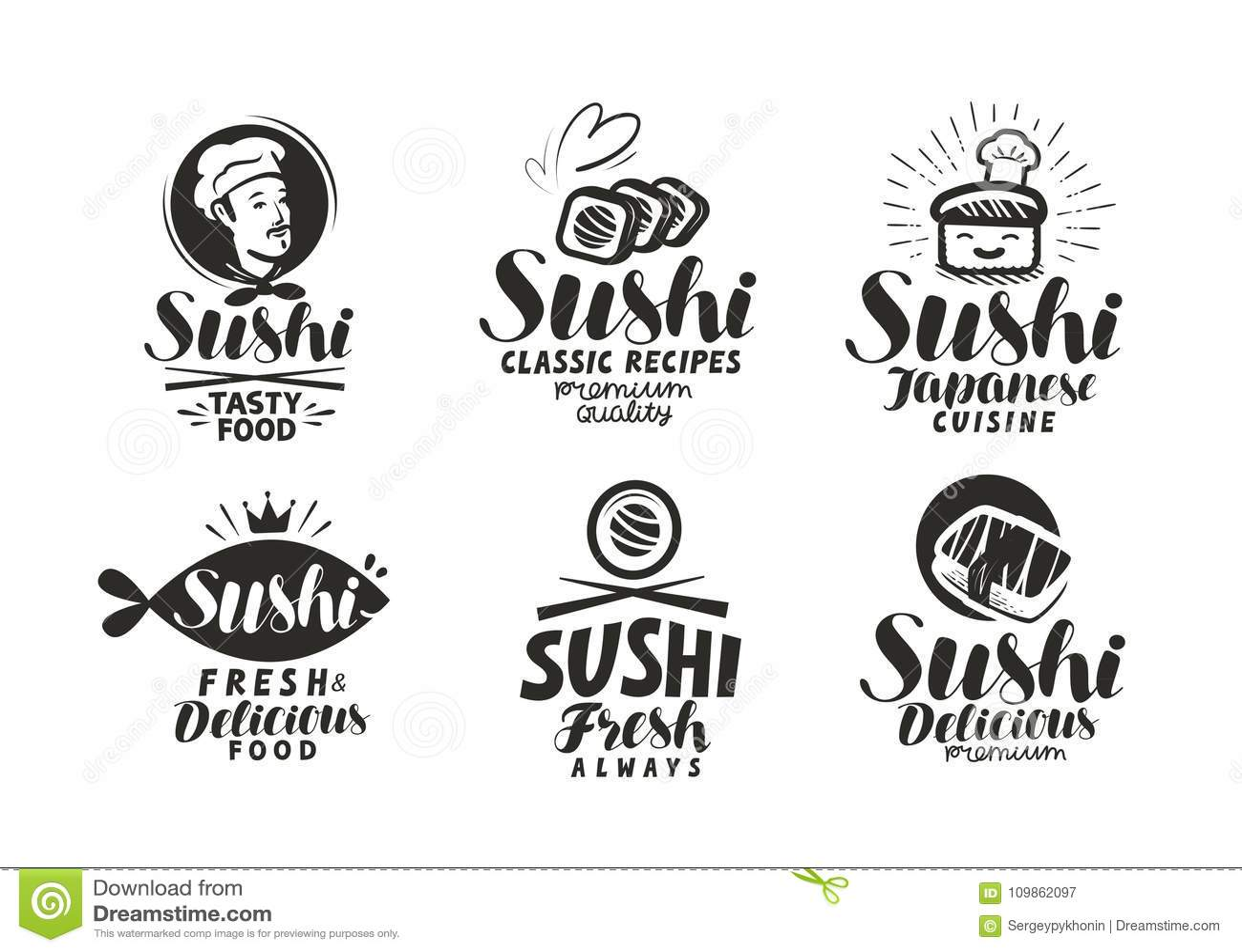 Sushi and rolls logo or label japanese food menu lettering vector download comp forumfinder Choice Image
