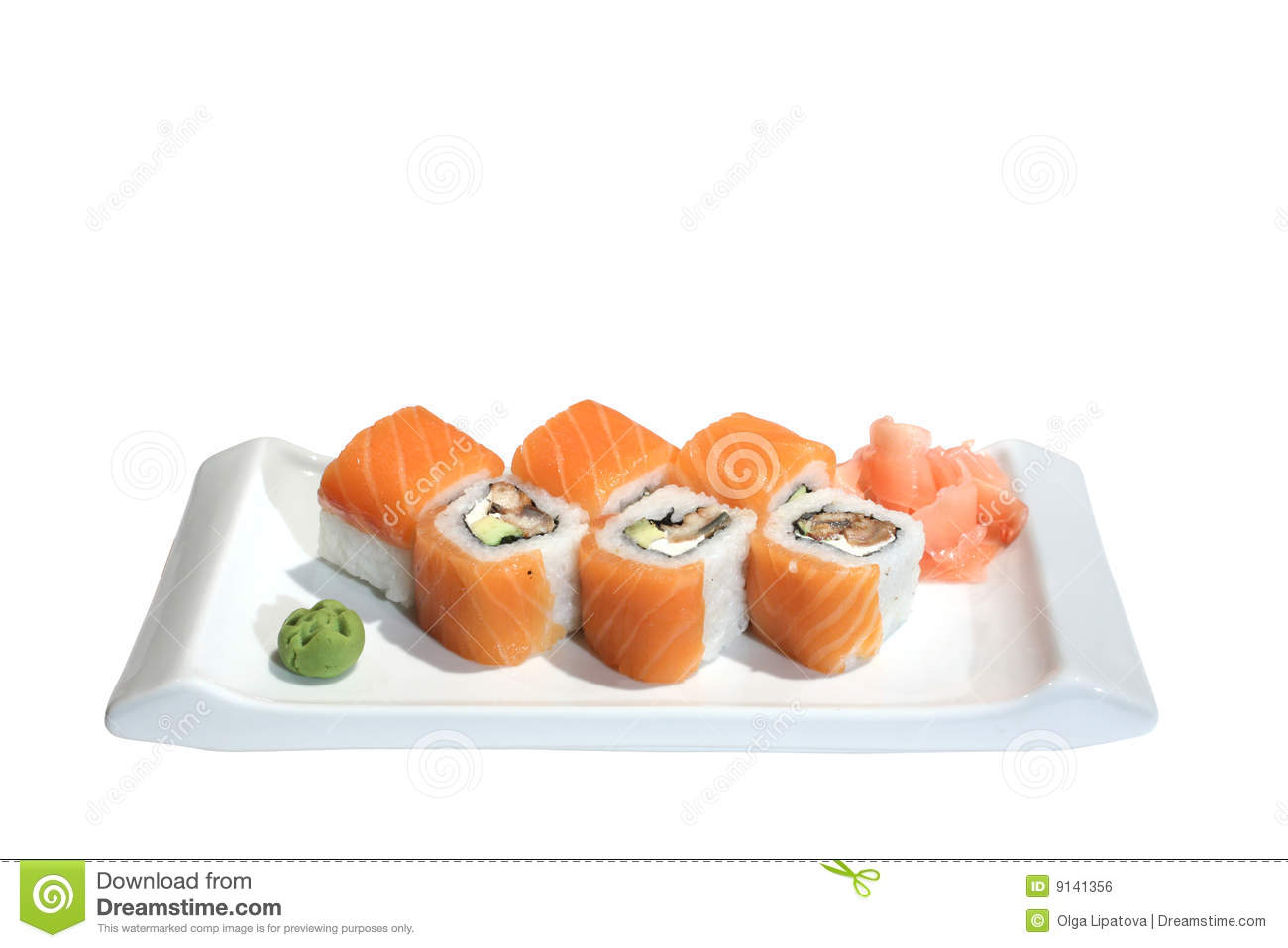 Sushi (rolls) With Salmon, Eel And Avocado Royalty Free Stock Image ...