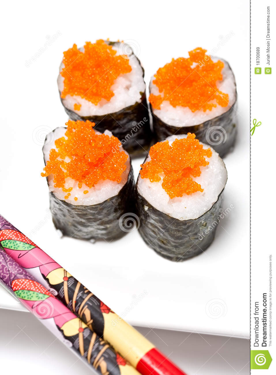 Sushi rolls with salmon fish eggs stock image image for Fish eggs on sushi