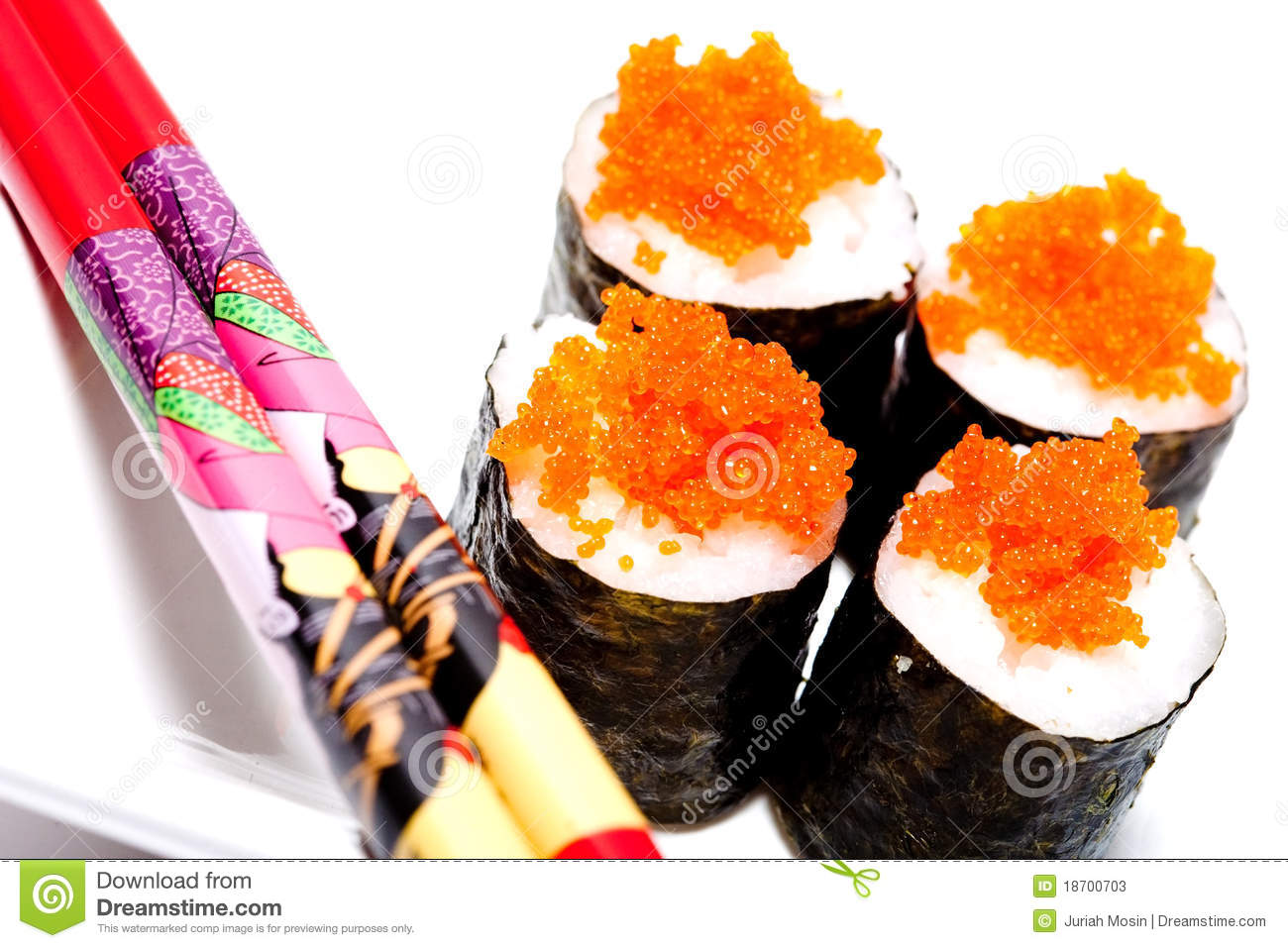 Sushi rolls with salmon fish eggs stock photos image for Fish eggs on sushi