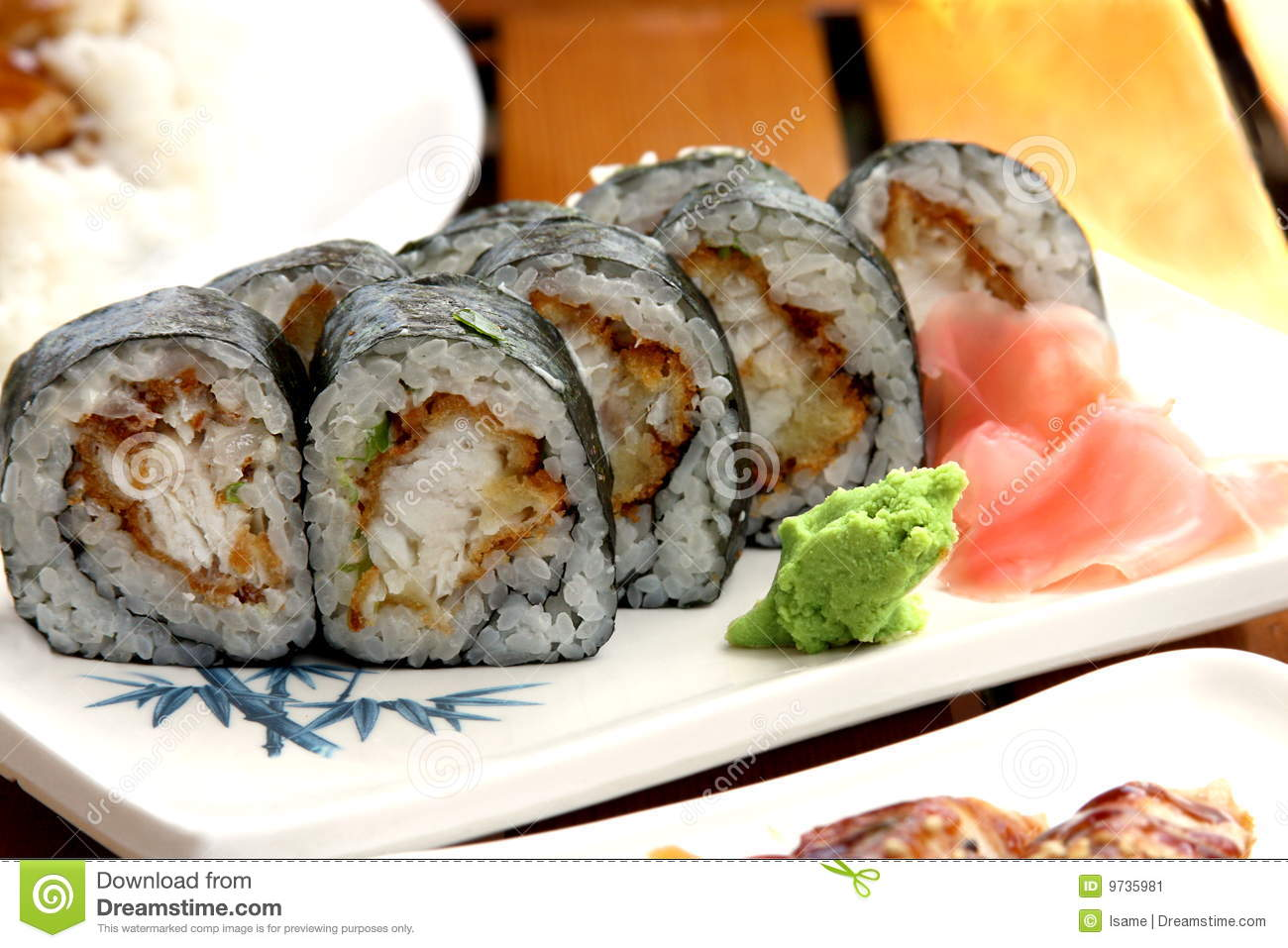 Sushi rolls with white fish stock image image 9735981 for Fish for sushi