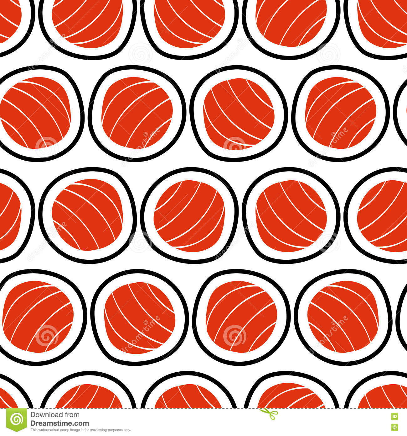 Sushi seamless pattern, hand drawn.. Emblem of japanese food, fish snack, susi, exotic restaurant, sea products delivery