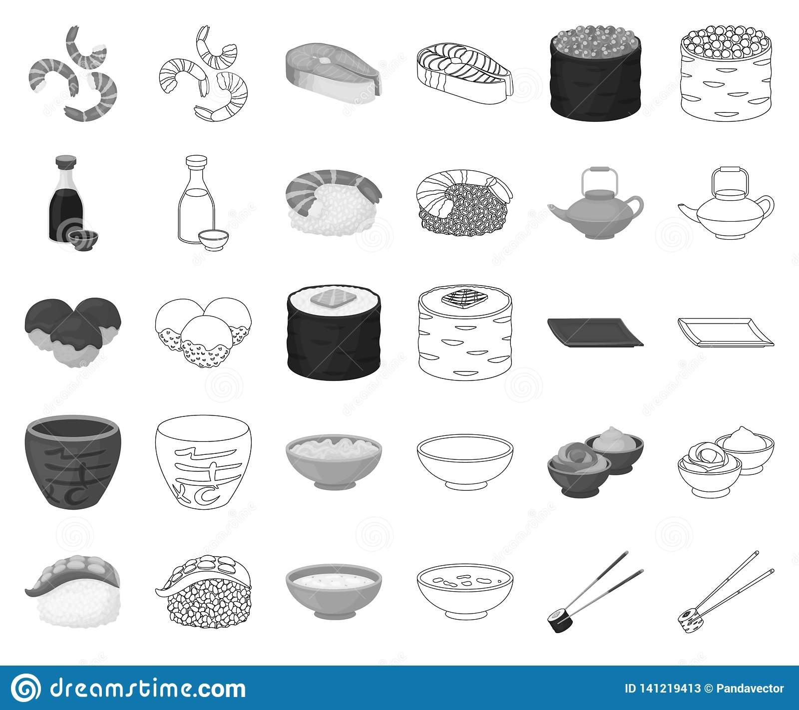 Sushi and seasoning monochrome,outline icons in set collection for design. Seafood food, accessory vector symbol stock