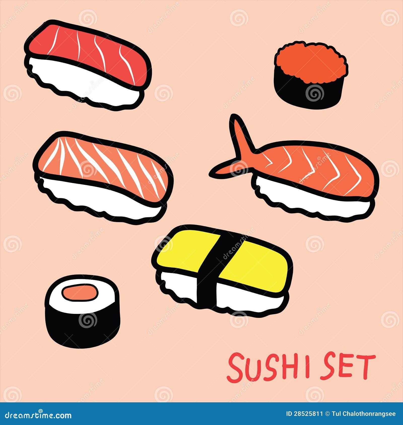sushi set doodle stock image   image 28525811