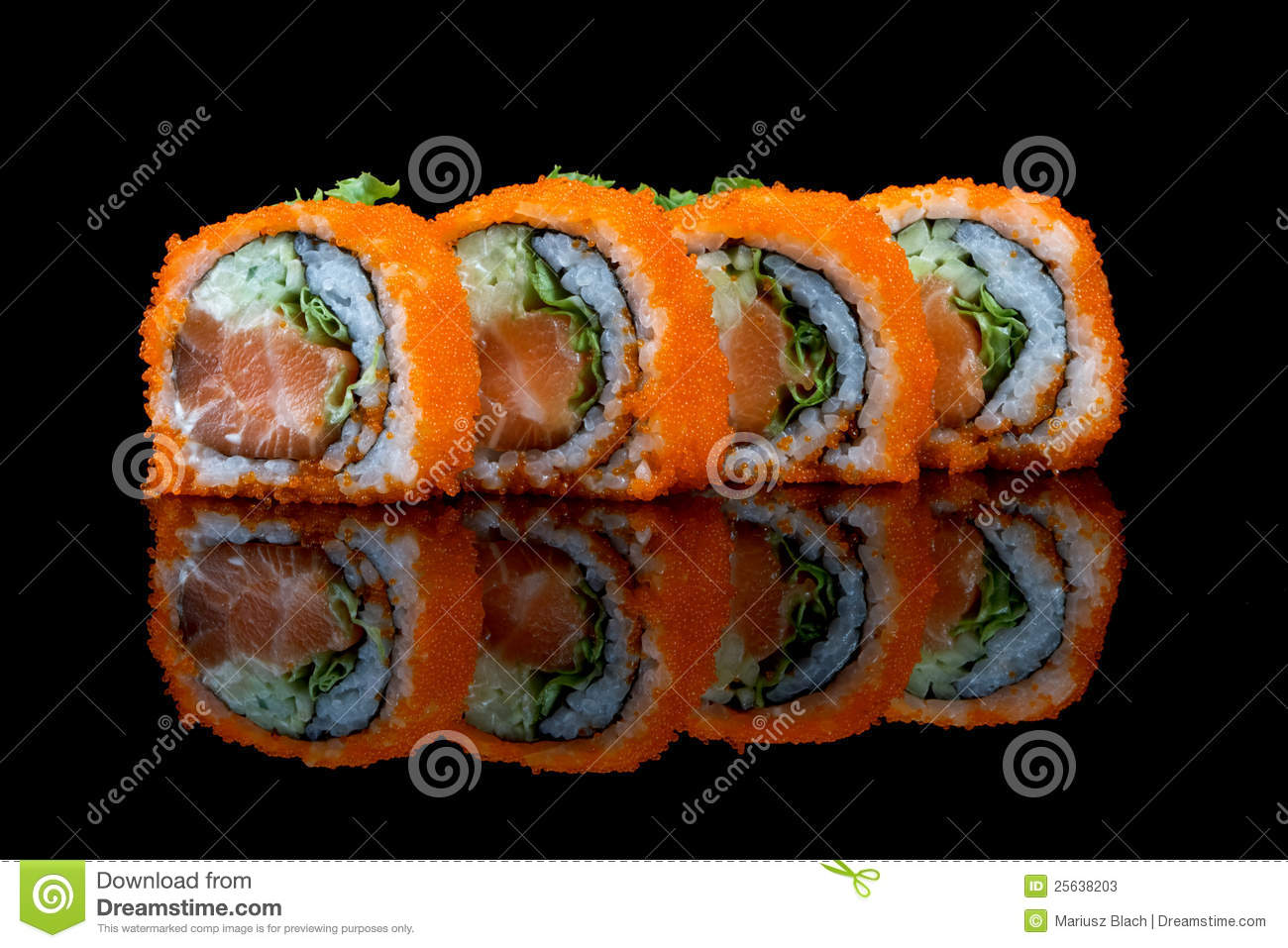 Sushi set with fish eggs stock photos image 25638203 for Fish eggs on sushi