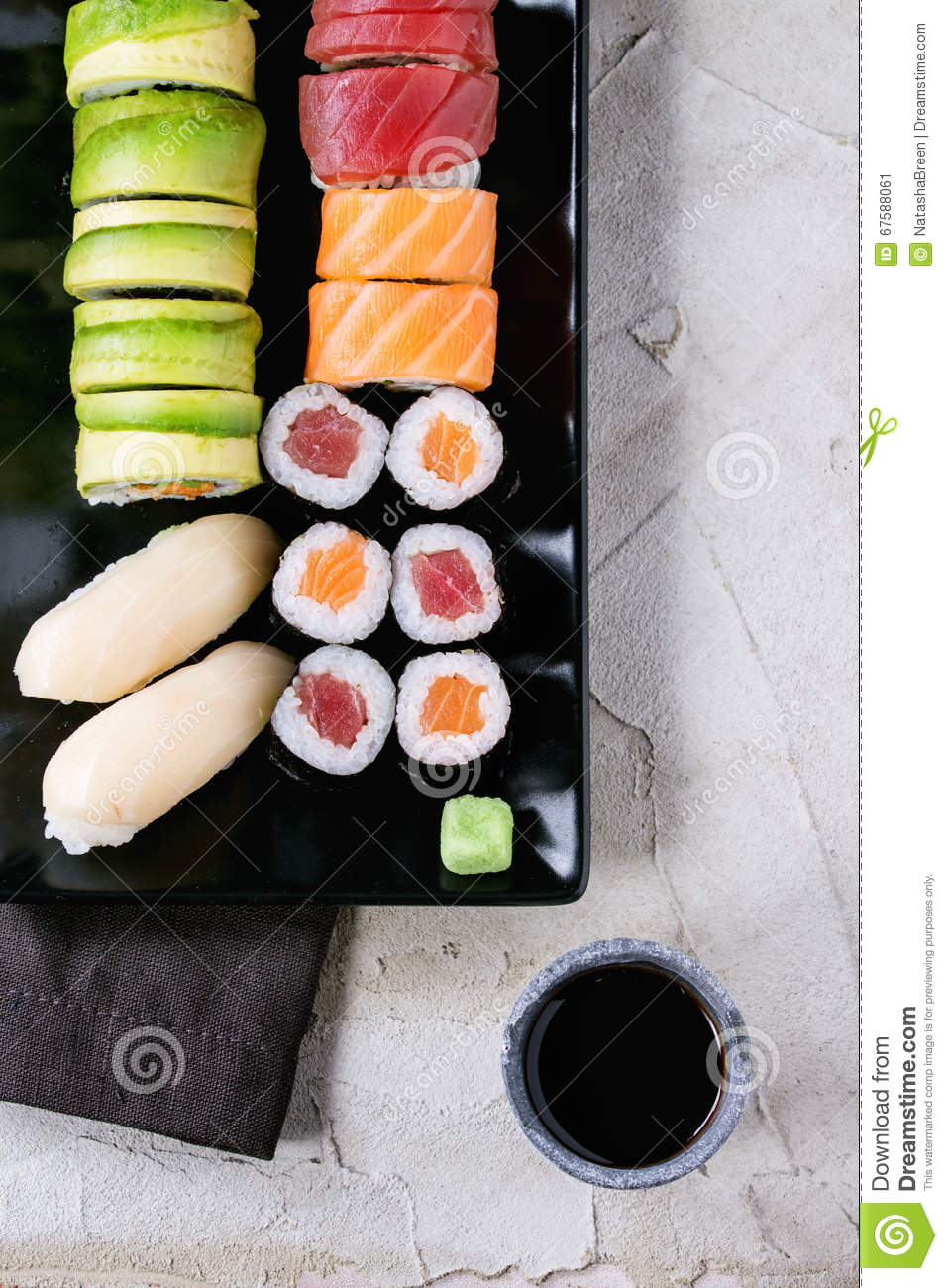 Sushi set nigiri and rolls