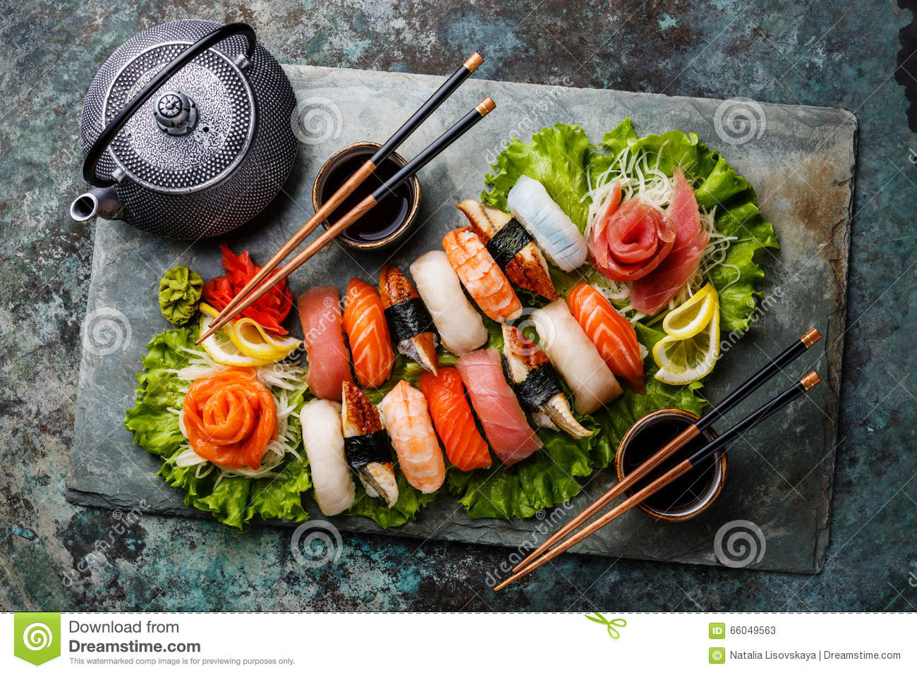 Download Sushi Set Nigiri And Sashimi With Tea Stock Image - Image of delicacy, chopstick: 66049563