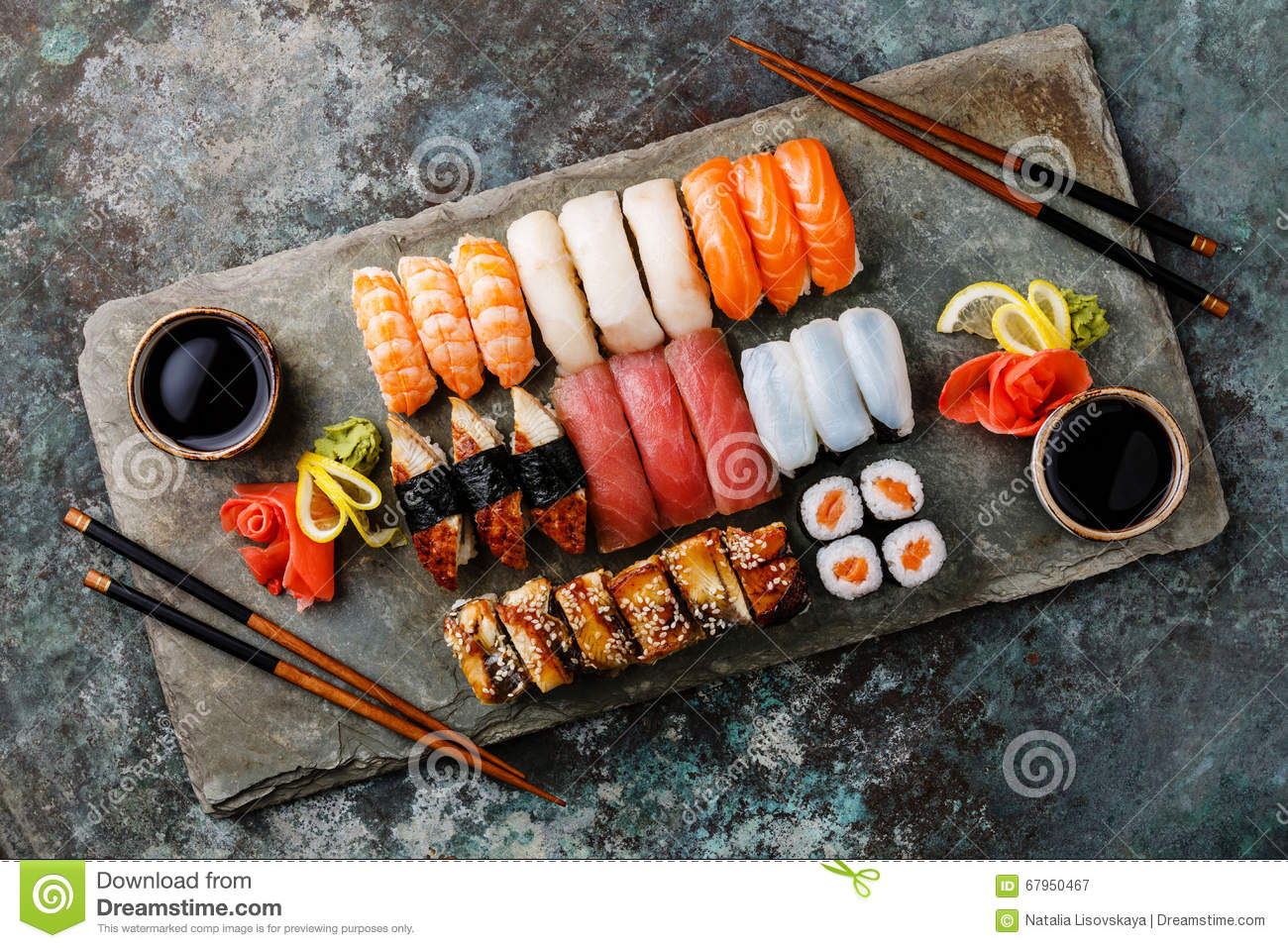 sushi set nigiri and sushi rolls for two stock image. Black Bedroom Furniture Sets. Home Design Ideas