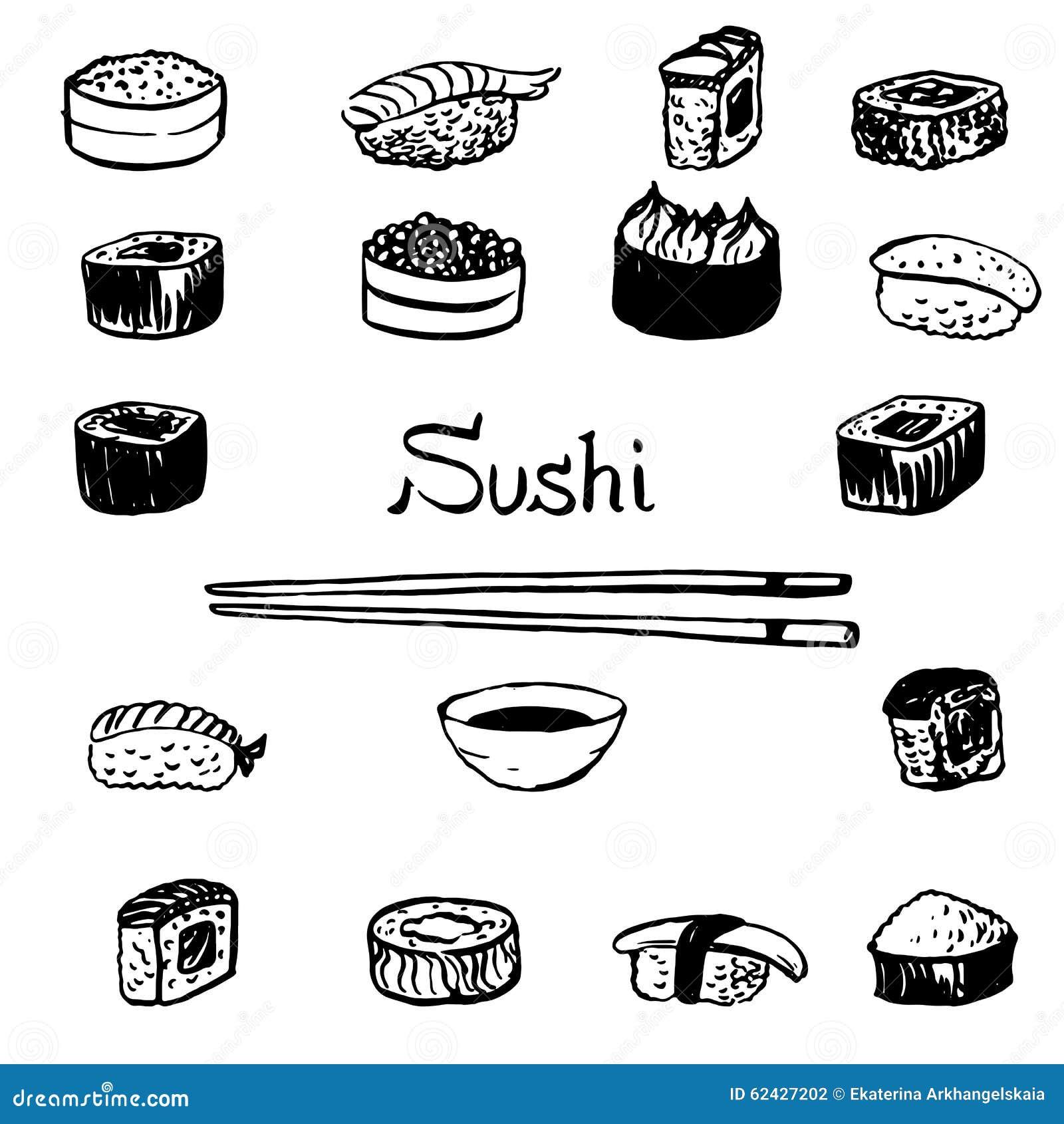 Sushi Set Stock Vector Image 62427202
