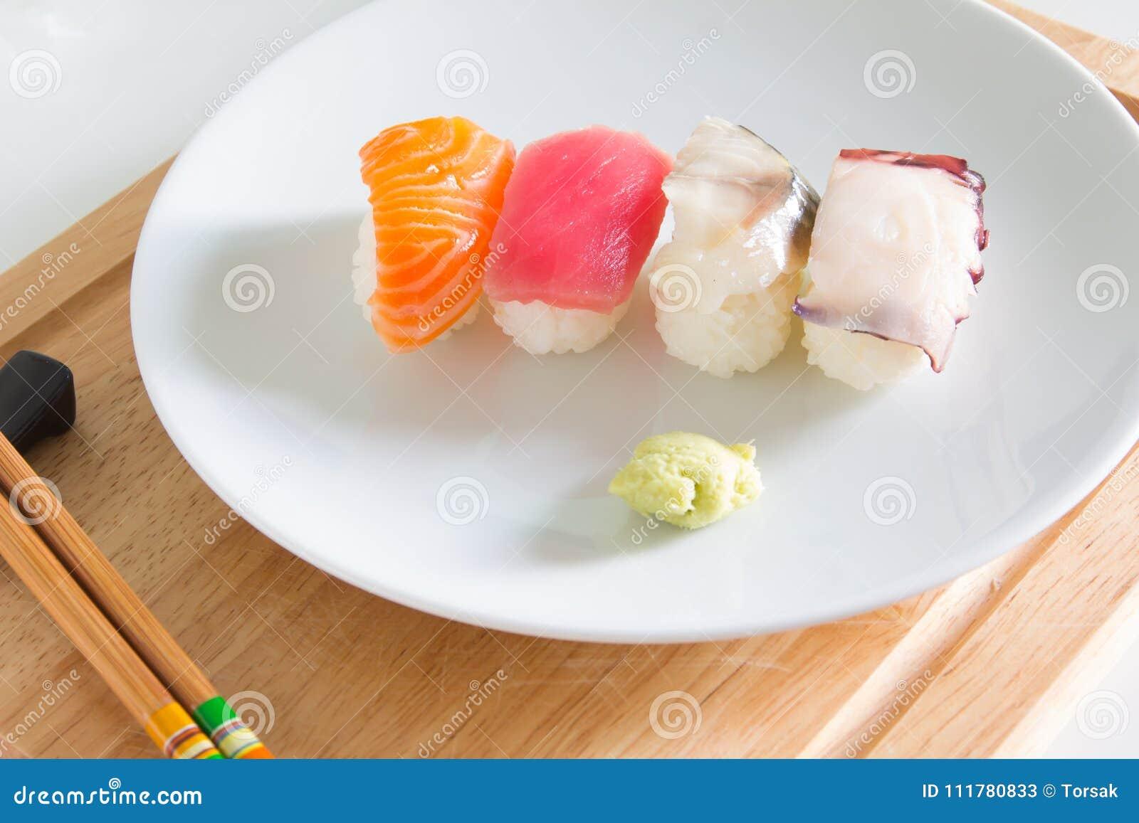 Sushi set on white plate.