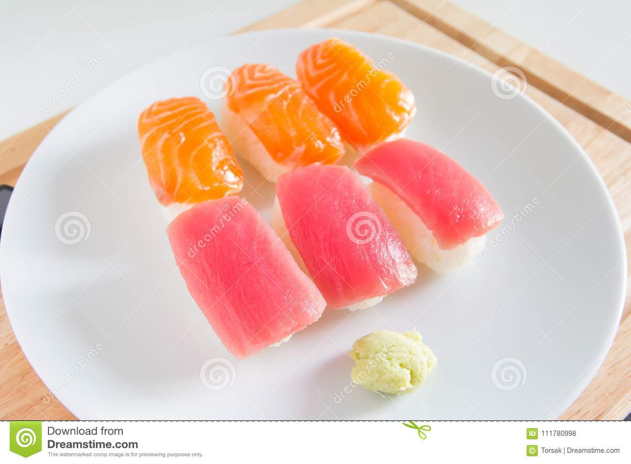 Sushi set on white plate. Janpan food