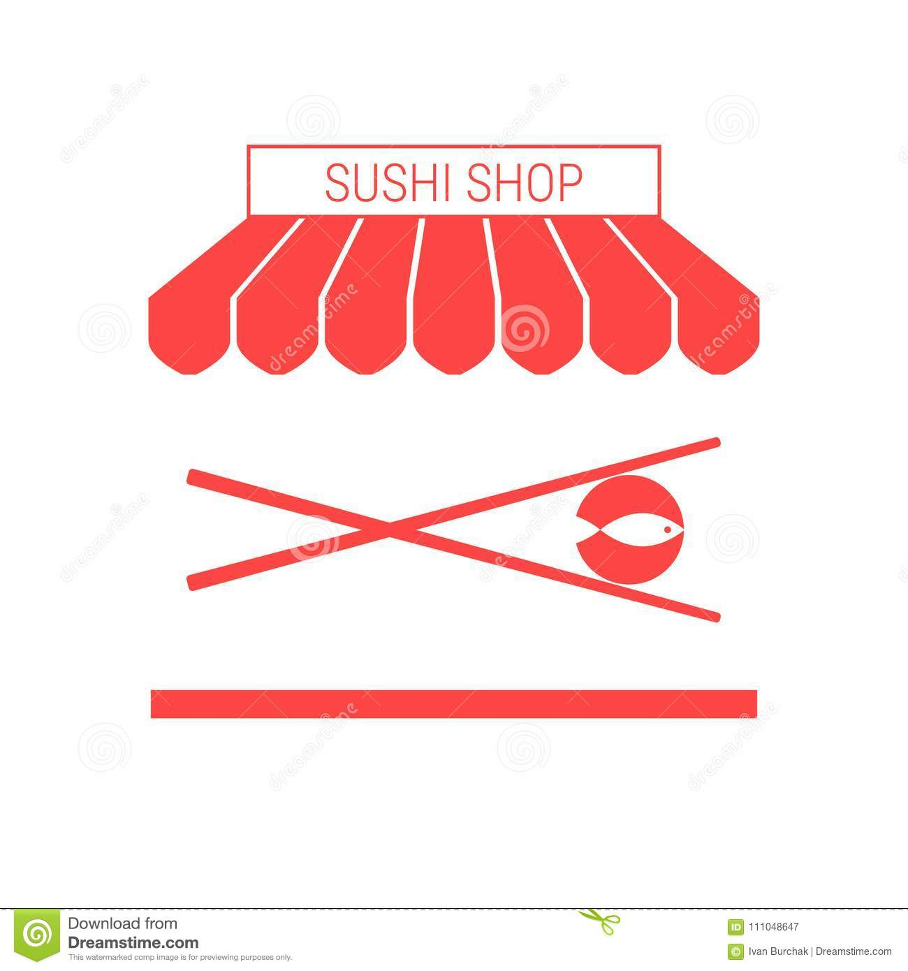 Sushi Shop, Japanese Restaurant Single Flat Vector Icon. Striped Awning and Signboard