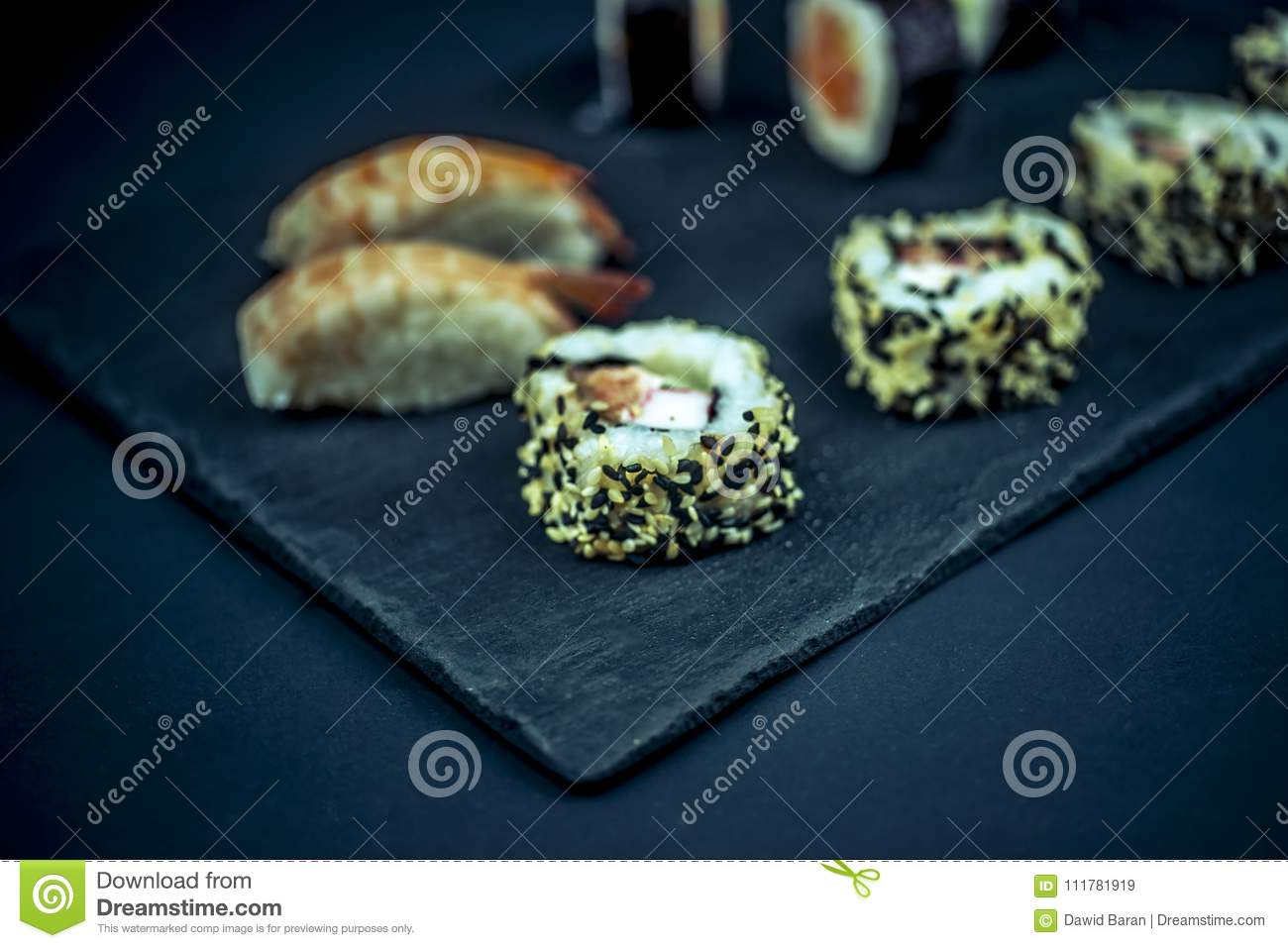 Sushi on the slate plate close up