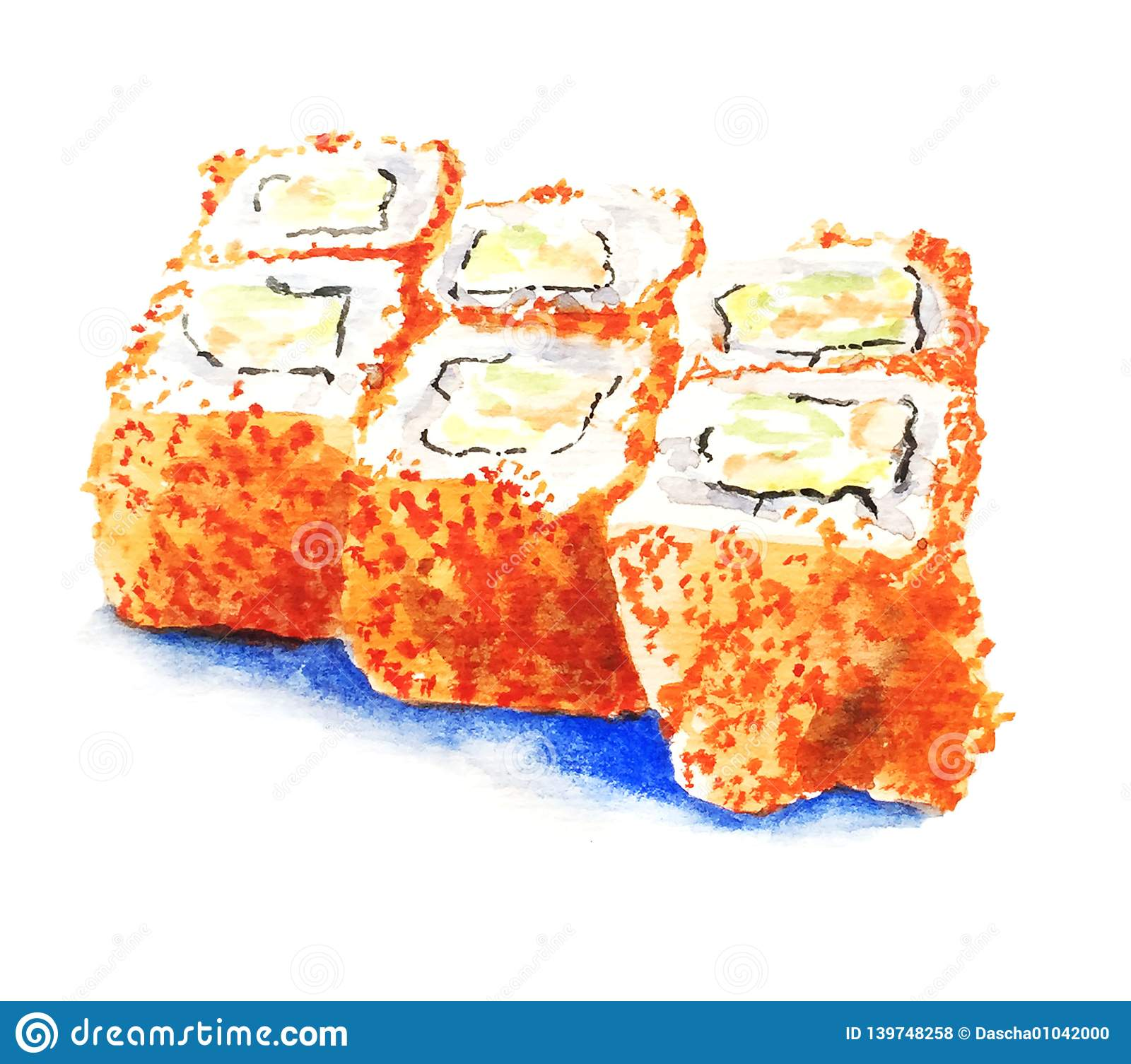 Sushi on white background watercolor illustration