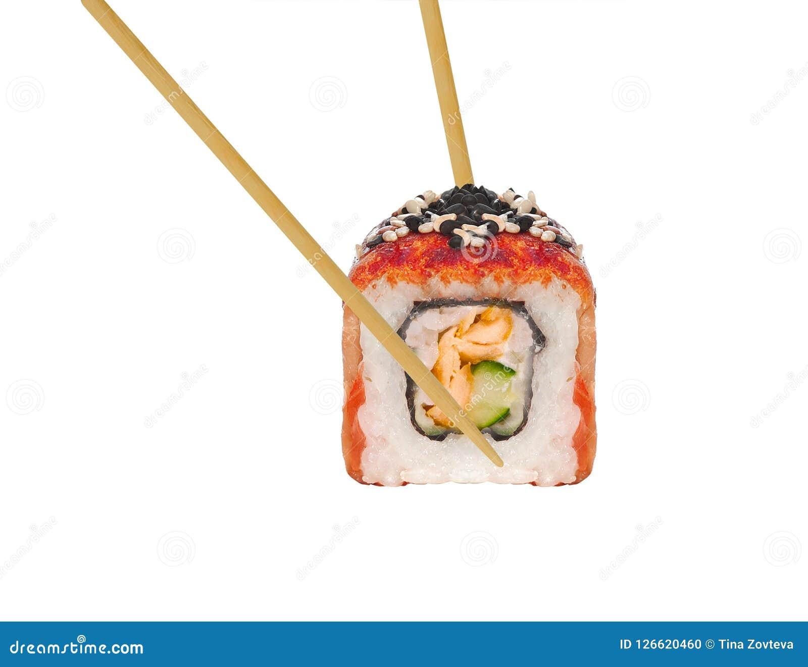 Sushibroodje in eetstokjes