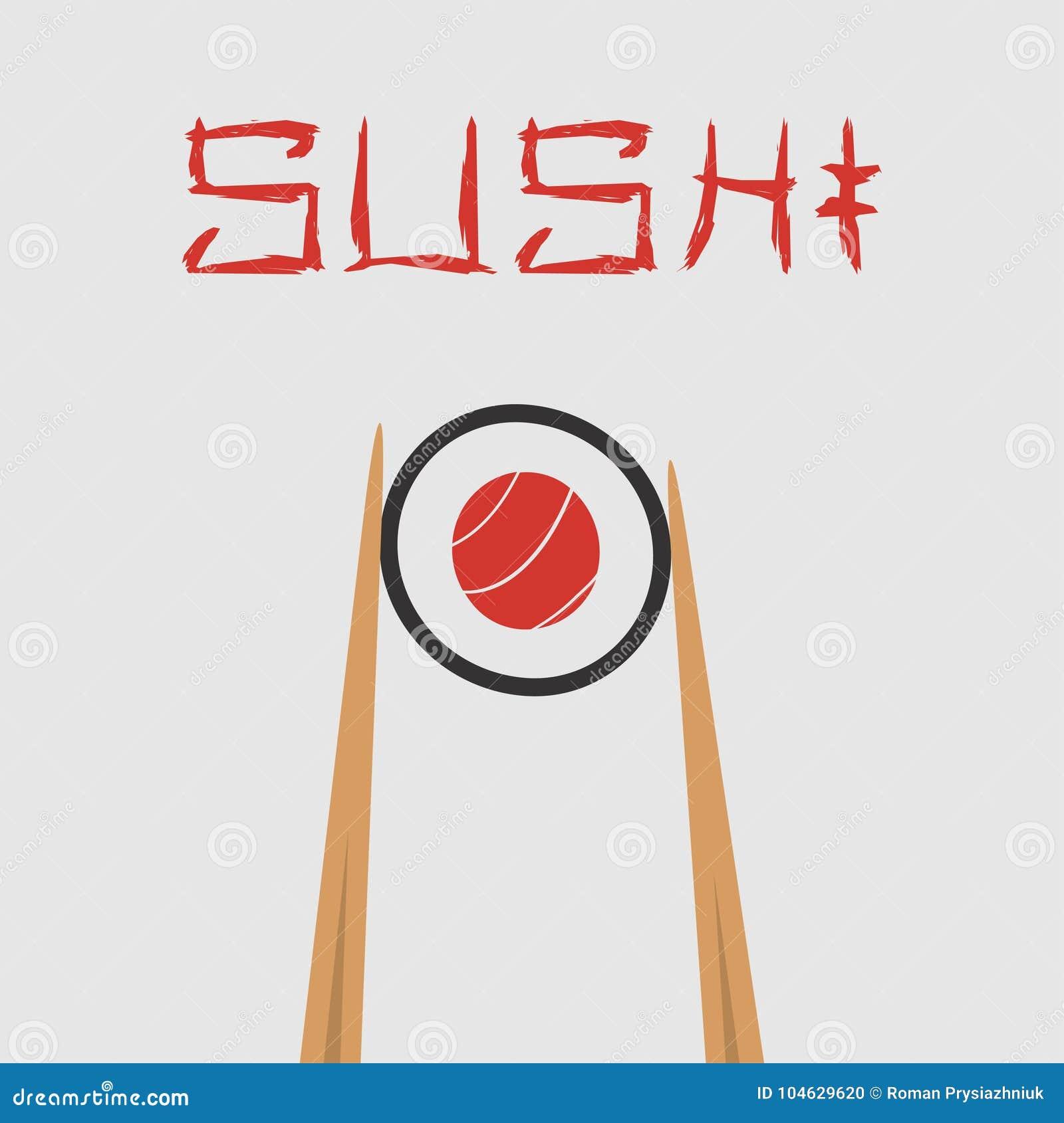 Download Sushibroodje, Eetstokjes Het Houden Vector Illustratie Vector Illustratie - Illustratie bestaande uit voedsel, embleem: 104629620