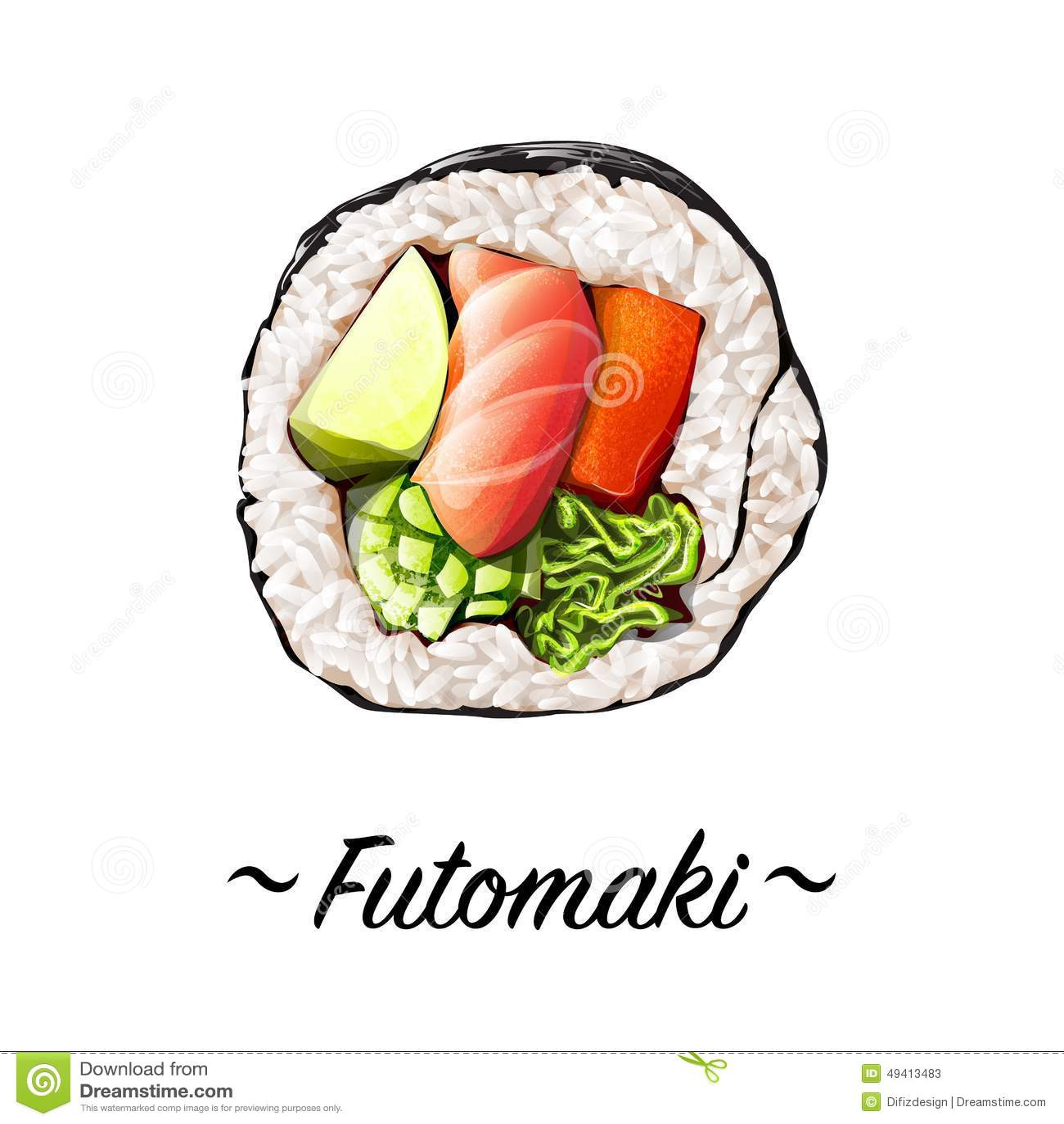 Download Sushirolle Makizushi Futomaki Stock Abbildung - Illustration von asiatisch, asien: 49413483