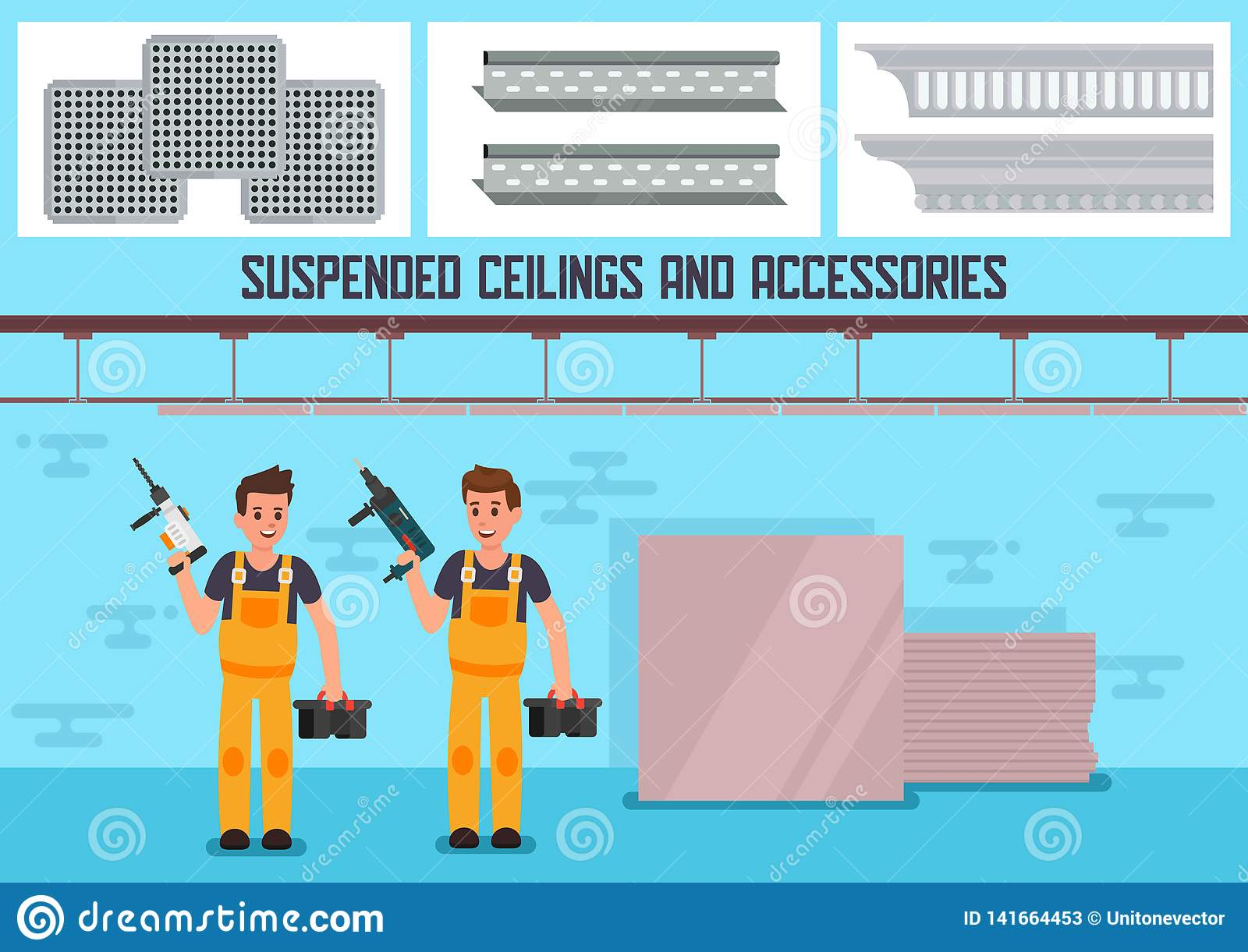 Suspended Ceiling Materials Flat Vector Ad Banner Stock