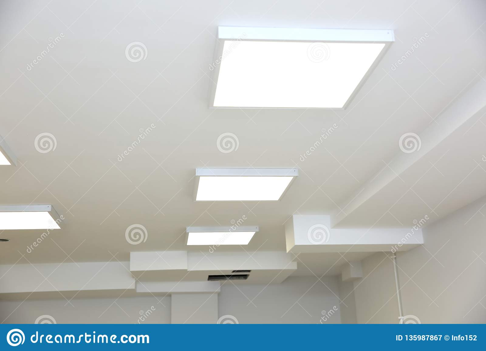 Suspended Ceiling With Modern Led Lighting Stock Image