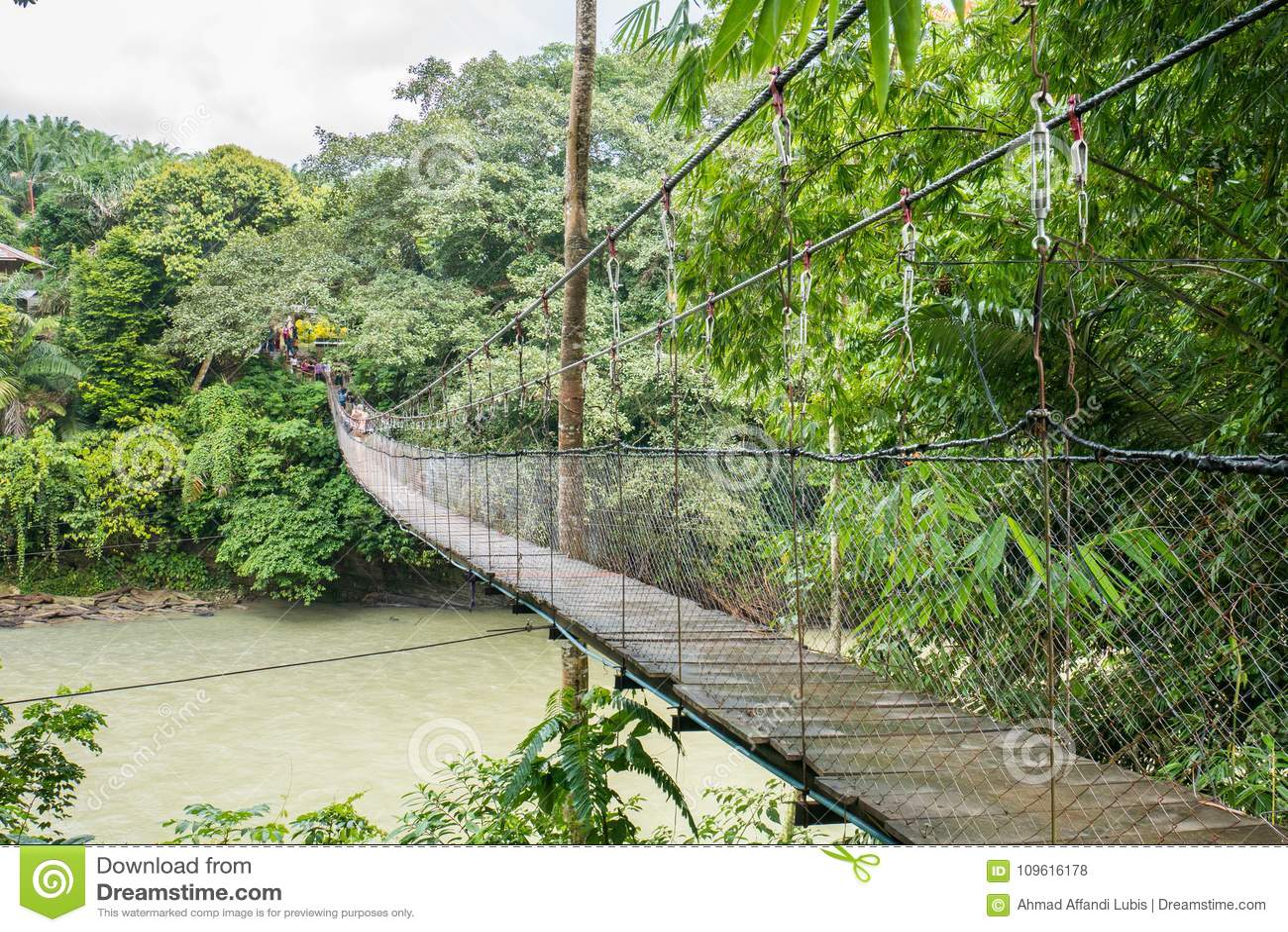 Suspension Bridge Across Tangkahan River in Tangkahan, Indonesia