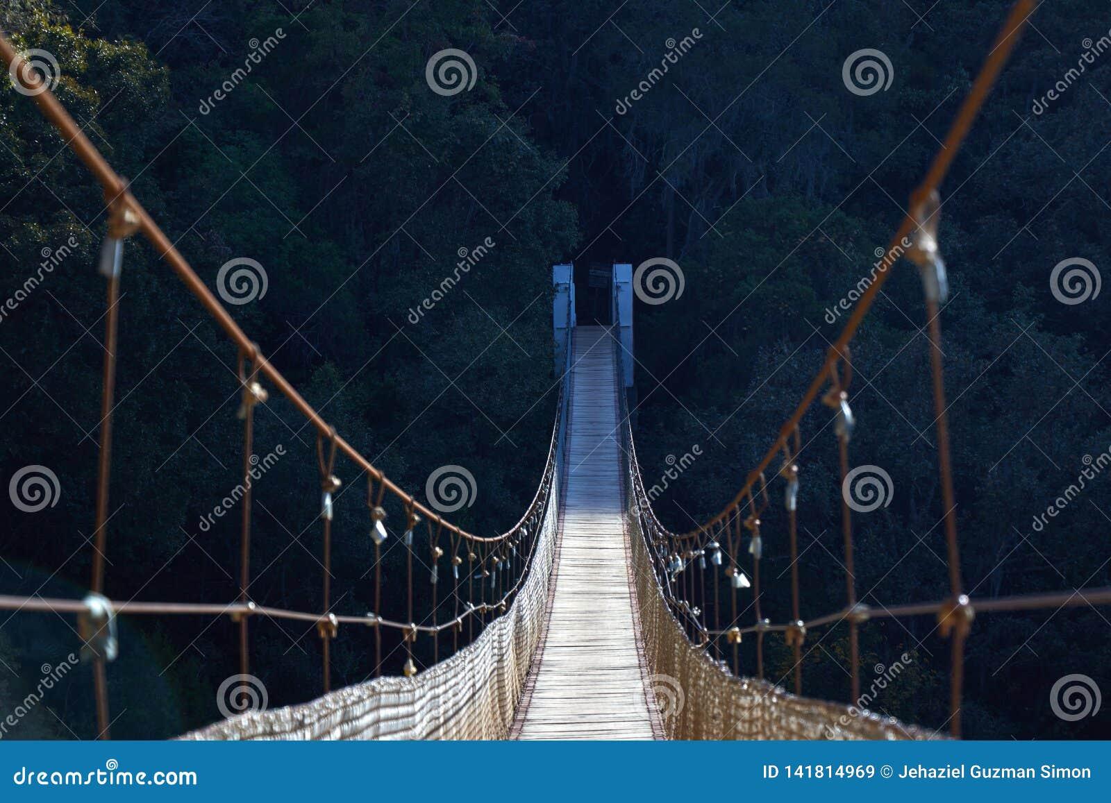 Suspension bridge with half shadow