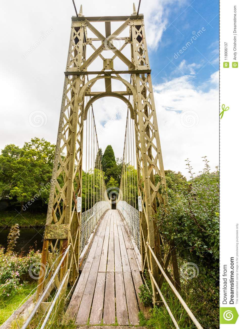 Wooden suspension bridge walkway.