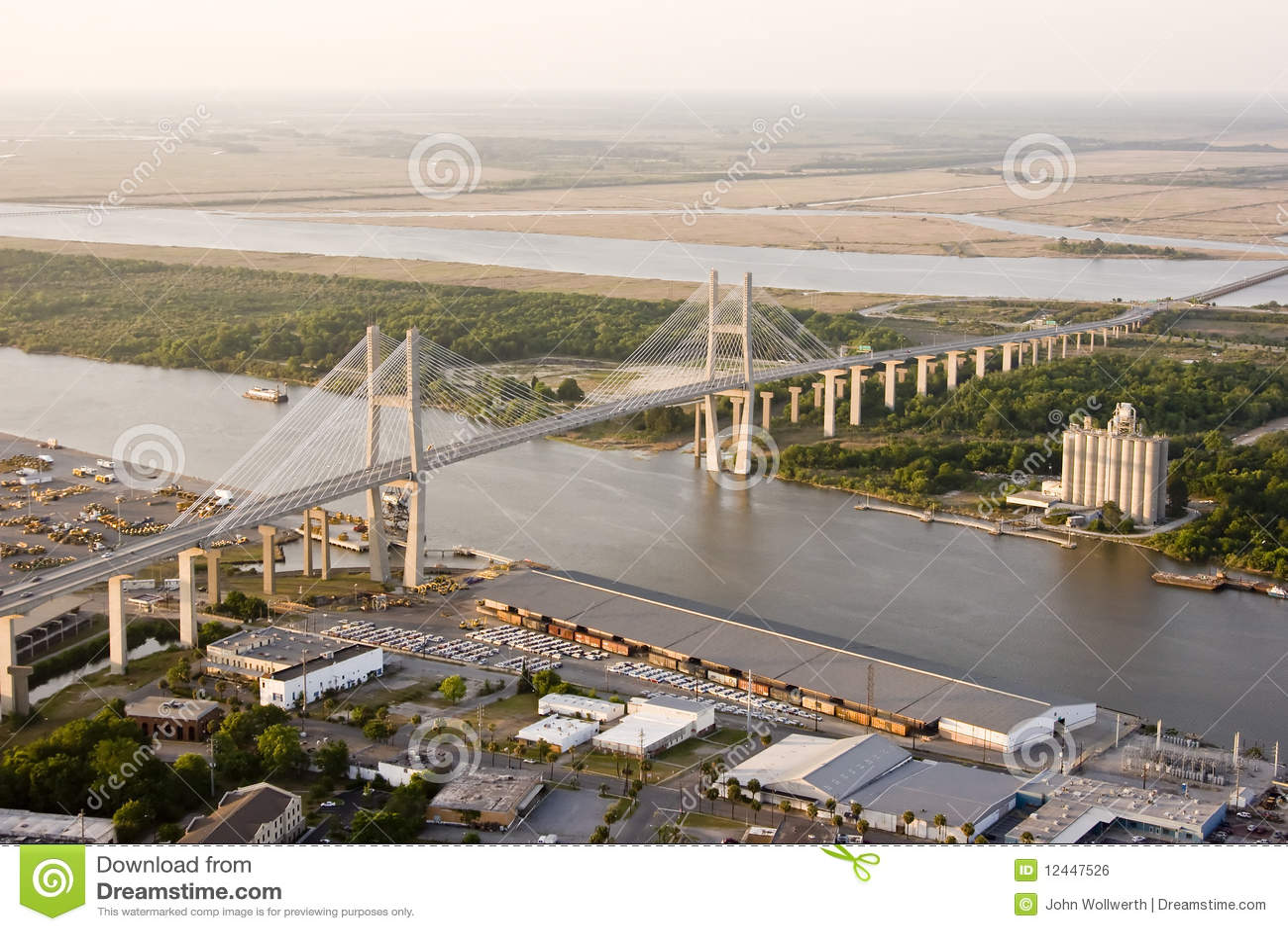 Suspension bridge and shipyard