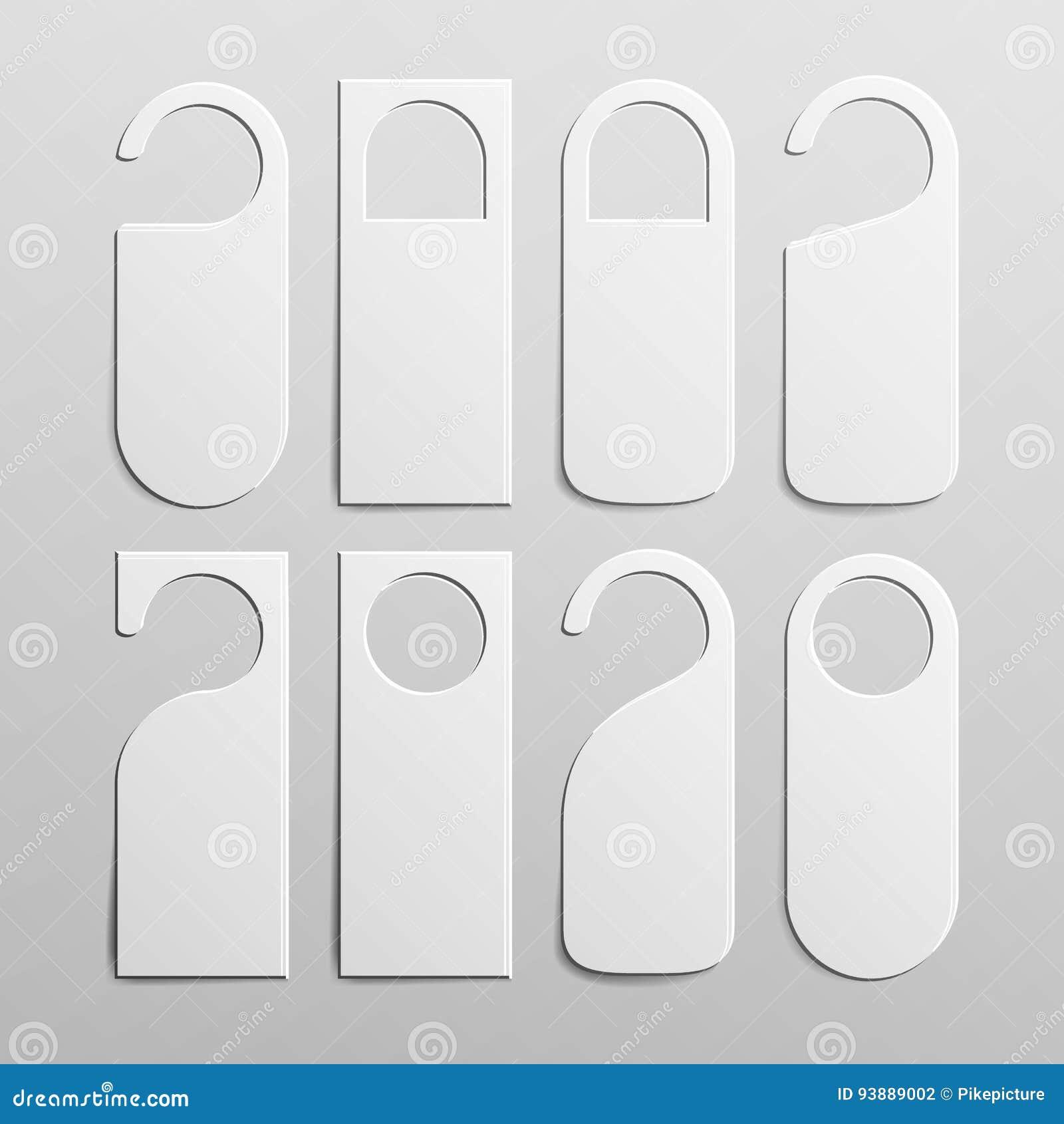 Suspensiones plásticas de papel de la cerradura del tirador de puerta fijadas Espacio en blanco blanco realista Vacie ascendente