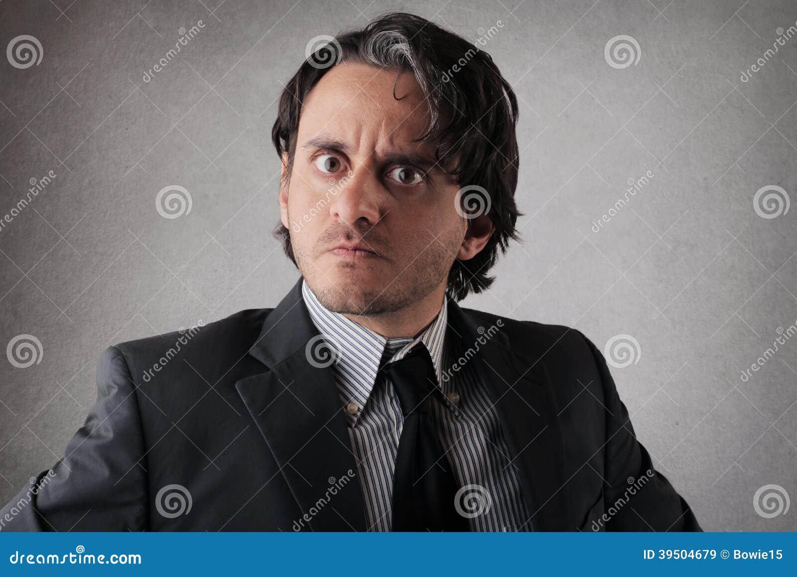 Suspicious doubtful businessman