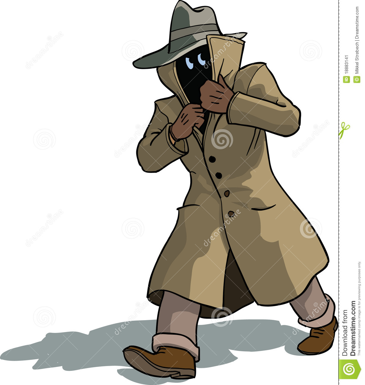 Man in cottoncoat fleeing and appering suspicious.