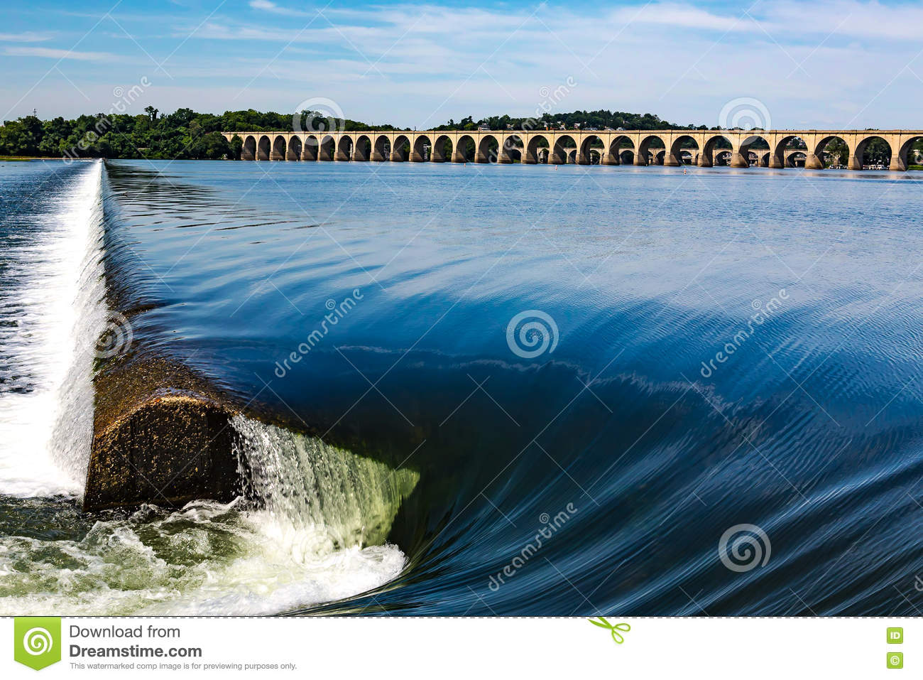 Susquehanna River Dam At Harrisburg Stock Image - Image of over