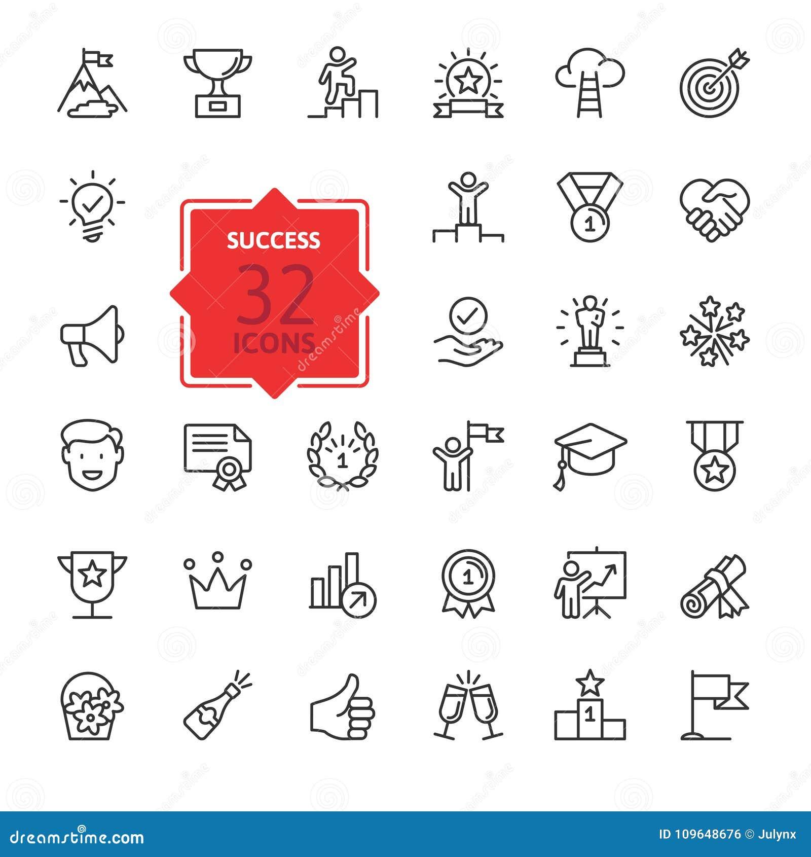 Sussess, récompenses, éléments d accomplissement - ligne mince minimale ensemble d icône de Web Collection d icônes d ensemble
