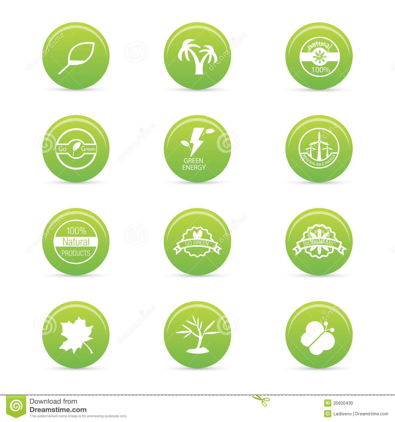 Abstract sustainability icons on a white background.