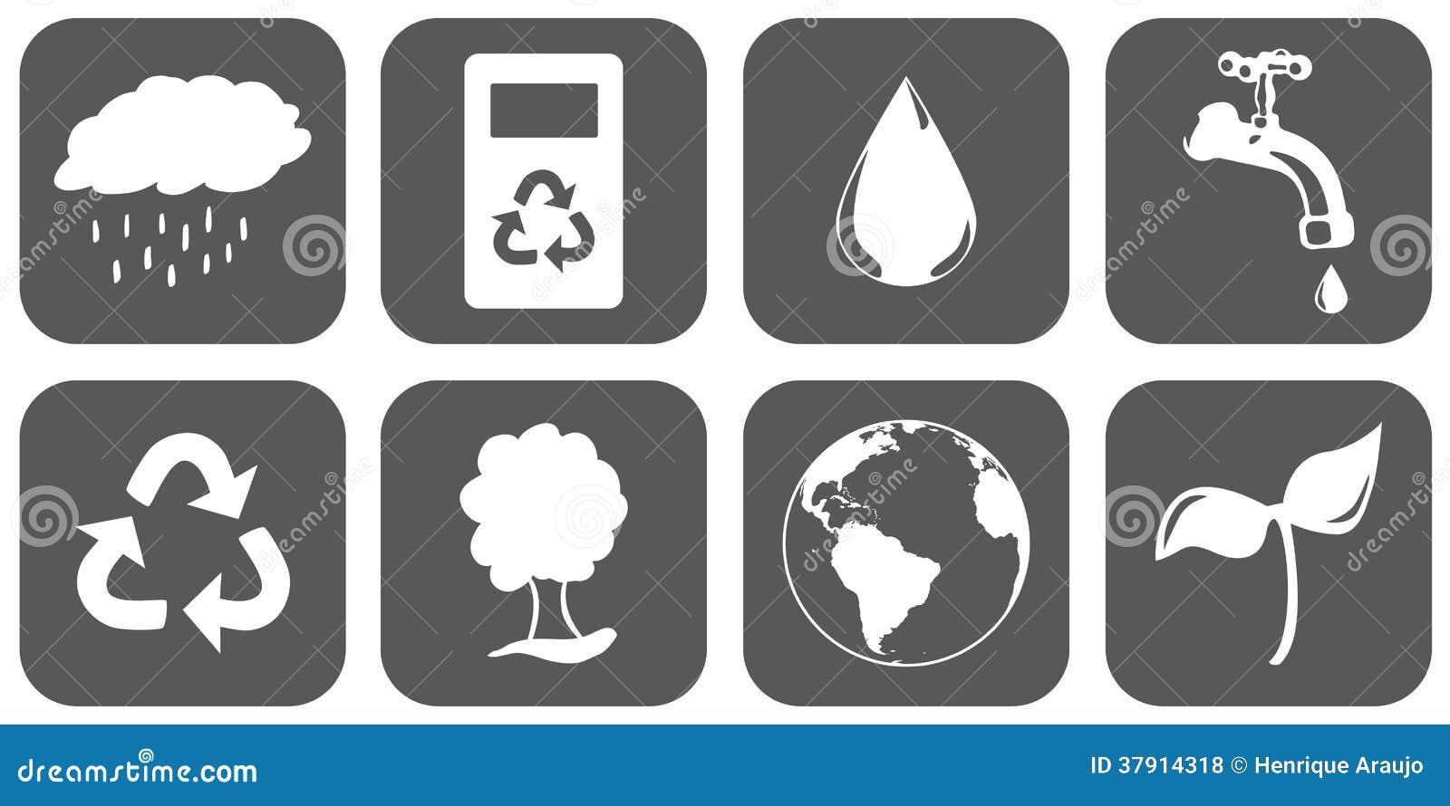 Скачать Eco Technology Flat Icons: Sustainable Icons Royalty Free Stock Photos