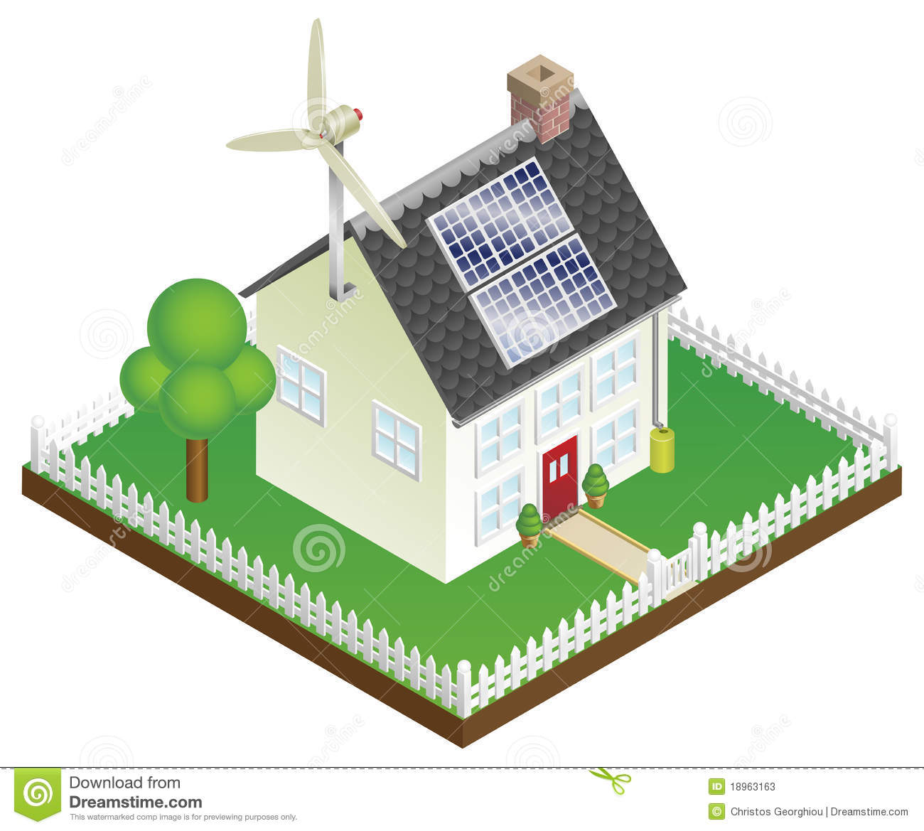 Sustainable Renewable Energy House Stock Vector Image