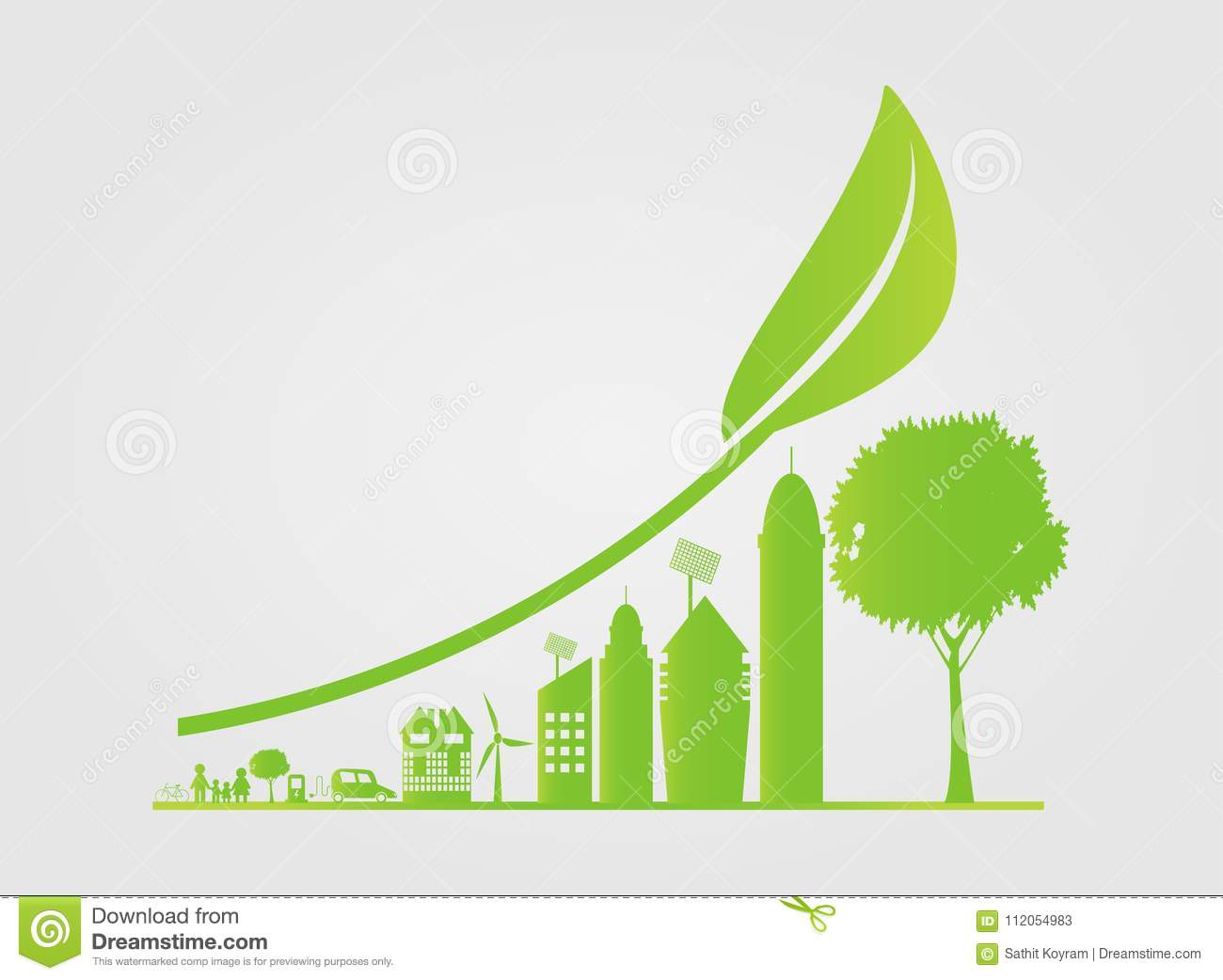 Sustainable Urban Growth in the City,Ecology.Green cities help the world with eco-friendly concept ideas, vector illustration