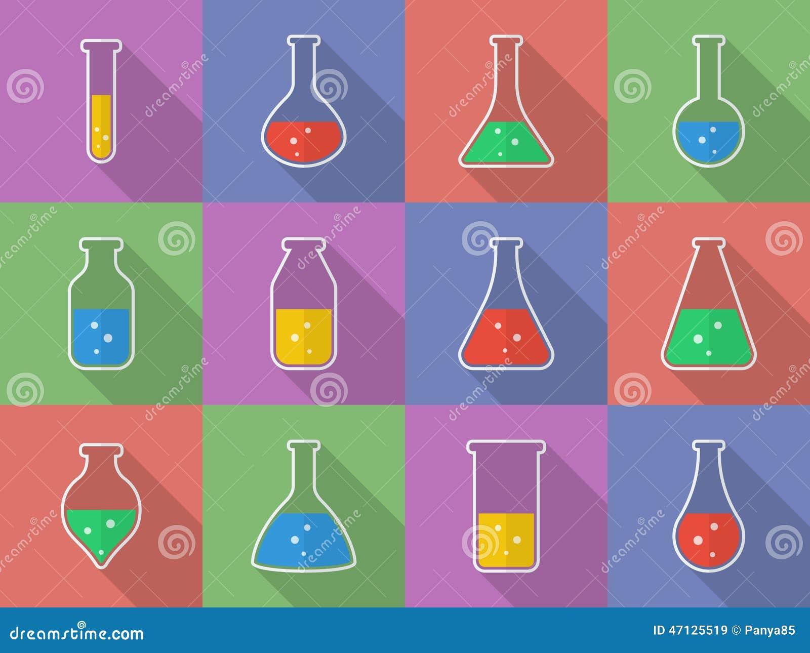 Sustancia química, equipo de laboratorio de ciencia biológica - tubos de ensayo e iconos de los frascos