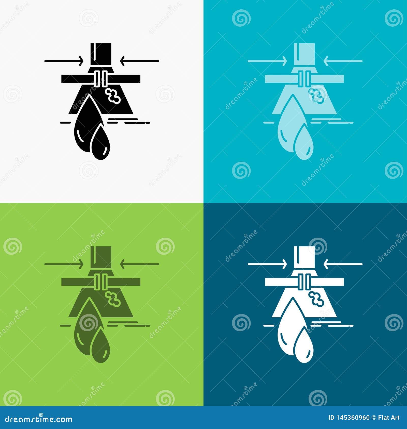 Sustancia química, escape, detección, fábrica, icono de la contaminación sobre diverso fondo dise?o del estilo del glyph, dise?ad
