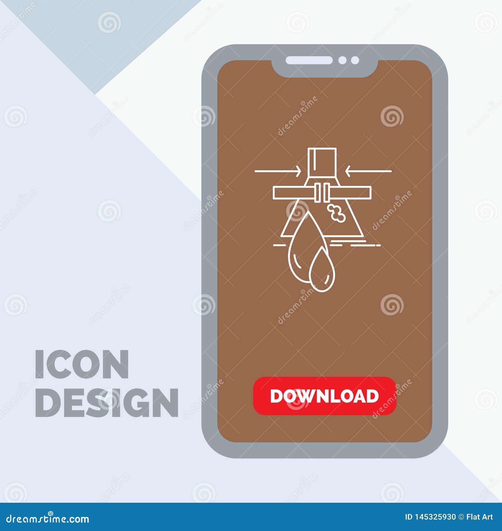 Sustancia química, escape, detección, fábrica, línea icono de la contaminación en el móvil para la página de la transferencia dir