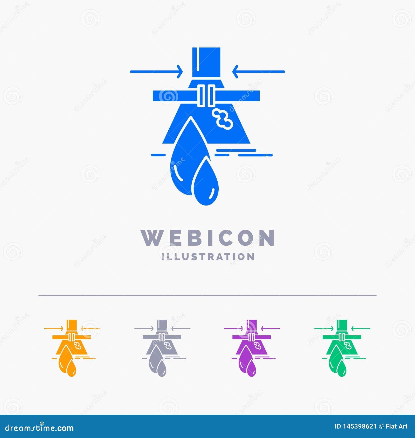 Sustancia química, escape, detección, fábrica, plantilla del icono de la web del Glyph del color de la contaminación 5 aislada en