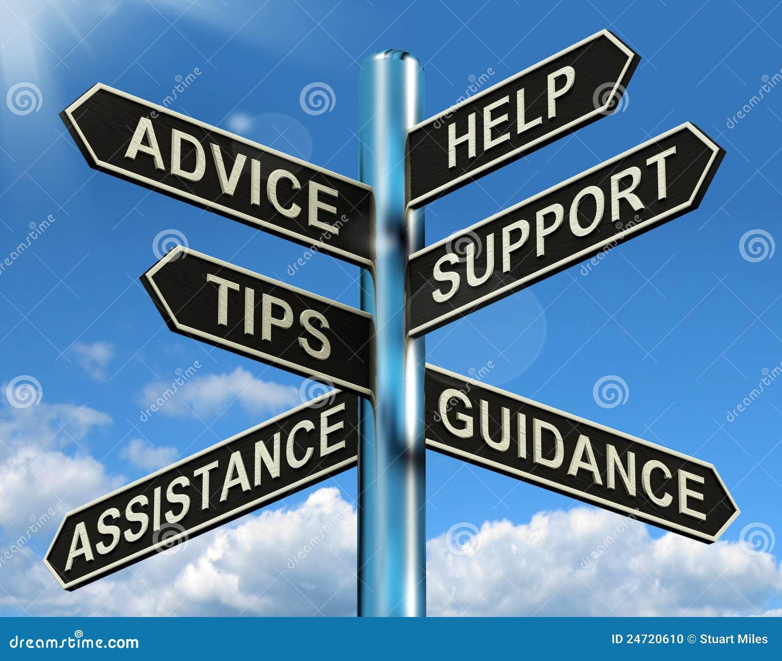 Sustentação da ajuda do conselho e Signpost das pontas