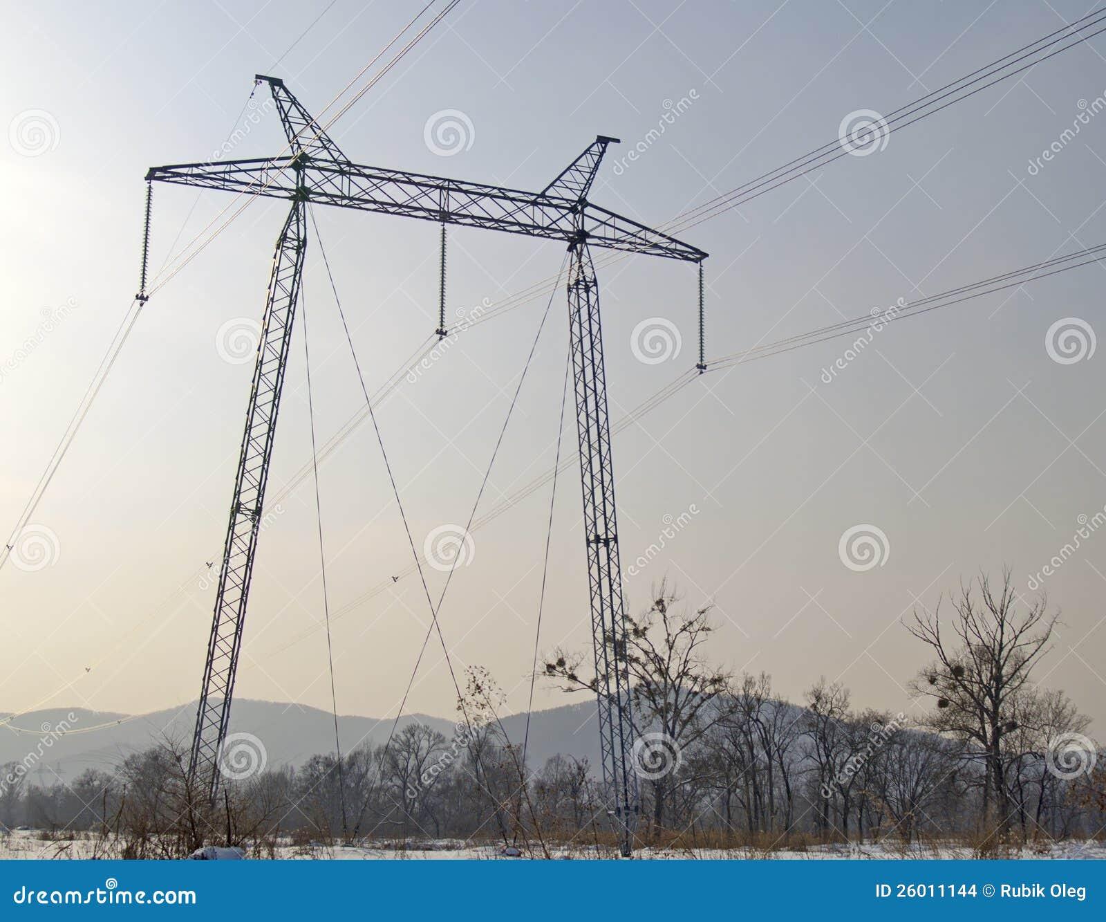 Sustentação de um cano principal elétrico de alta tensão